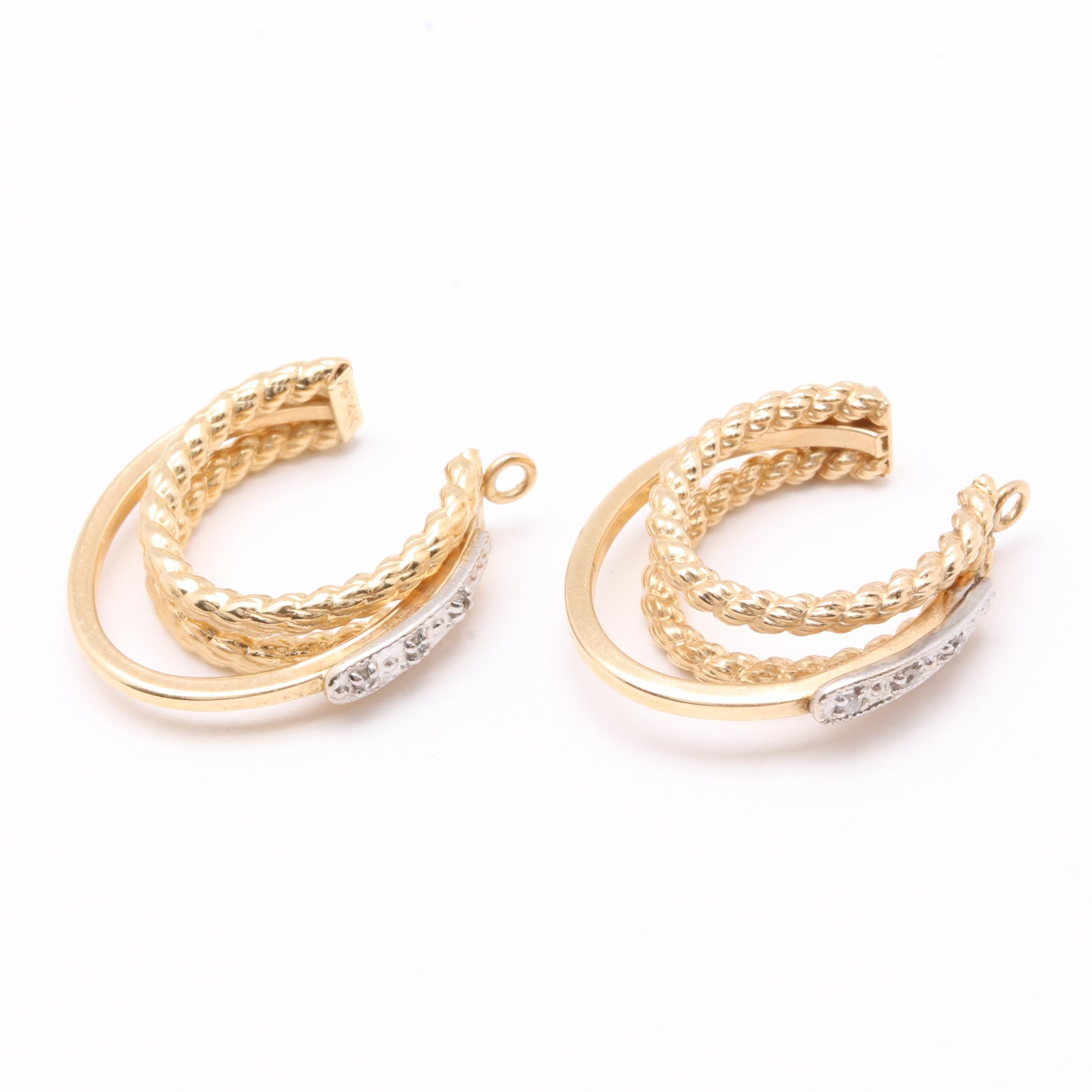 14K Yellow Gold Diamond Hoop Earring Jackets