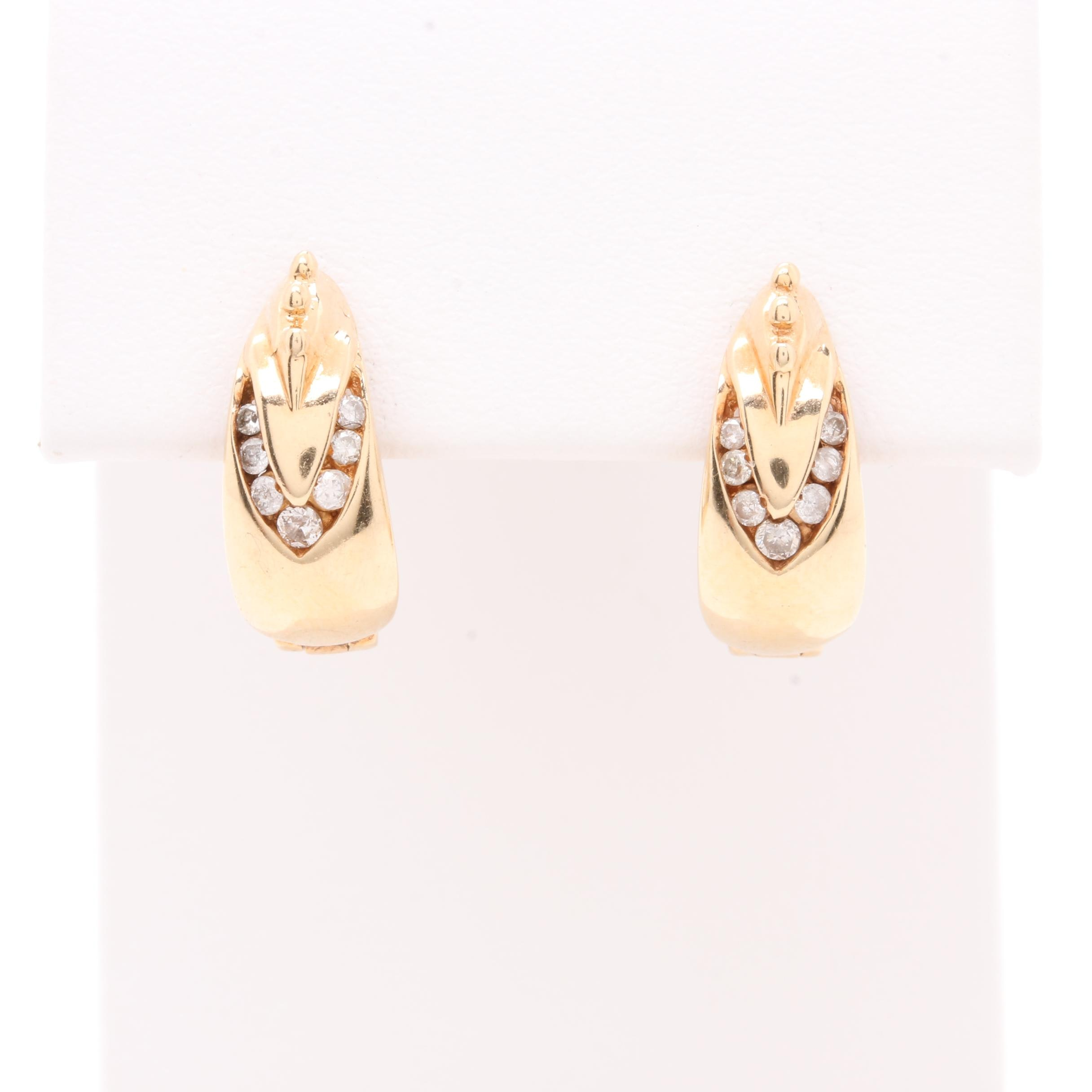 10K and 14K Yellow Gold Diamond Hoops