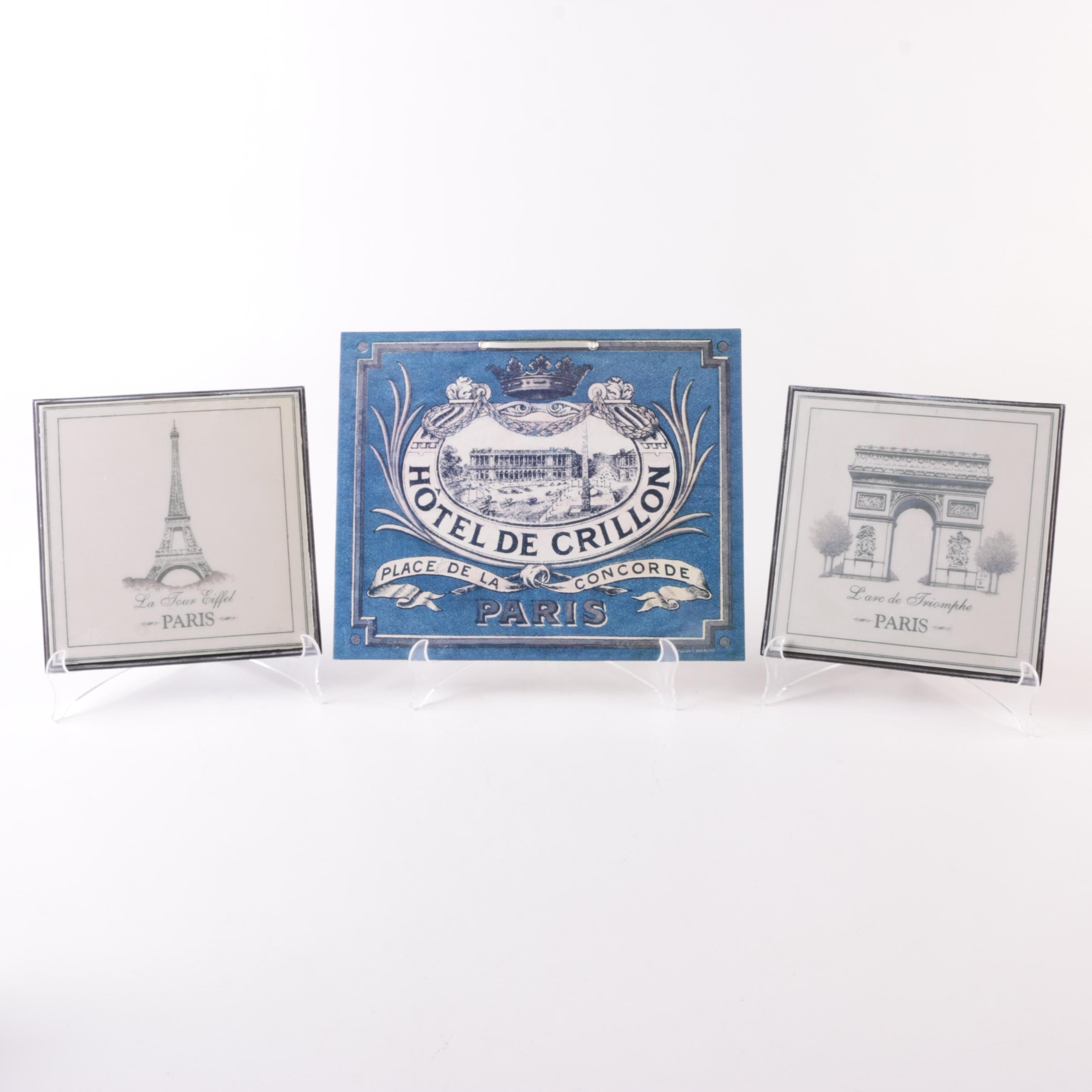 Paris Themed Wall Plaques with Plastic Stands