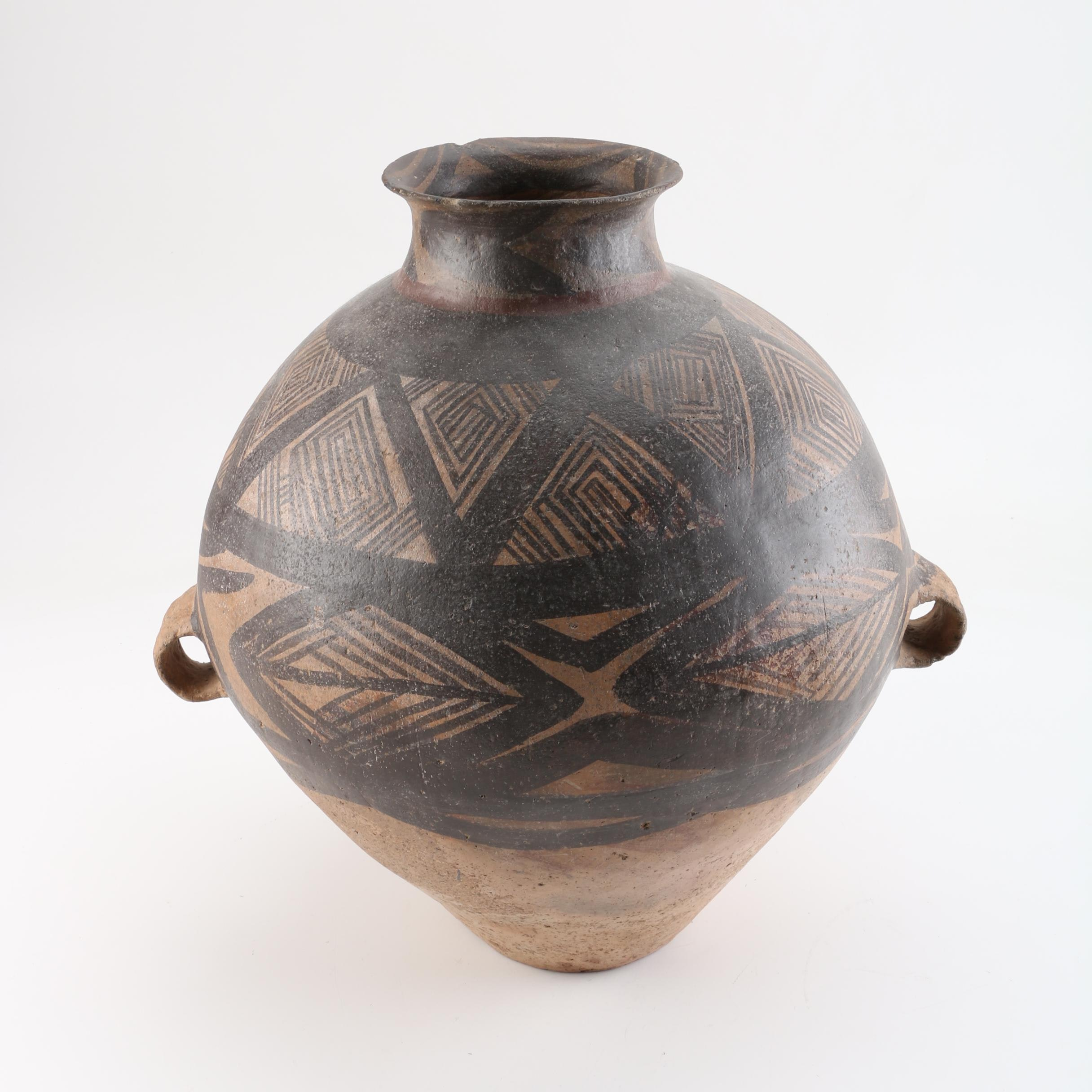South American Style Polychrome Pottery Collared Vase