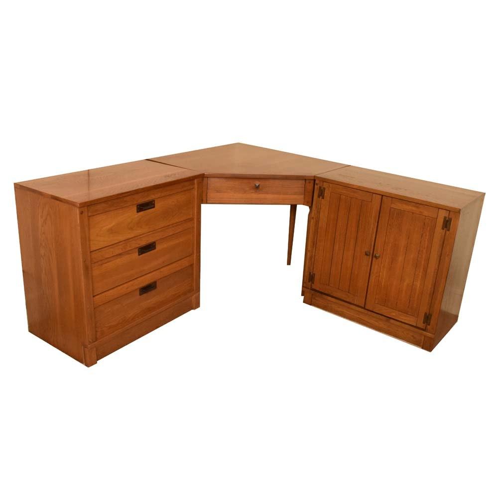 Vintage Mid Century Oak Dresser, Corner Desk, And Cabinet ...