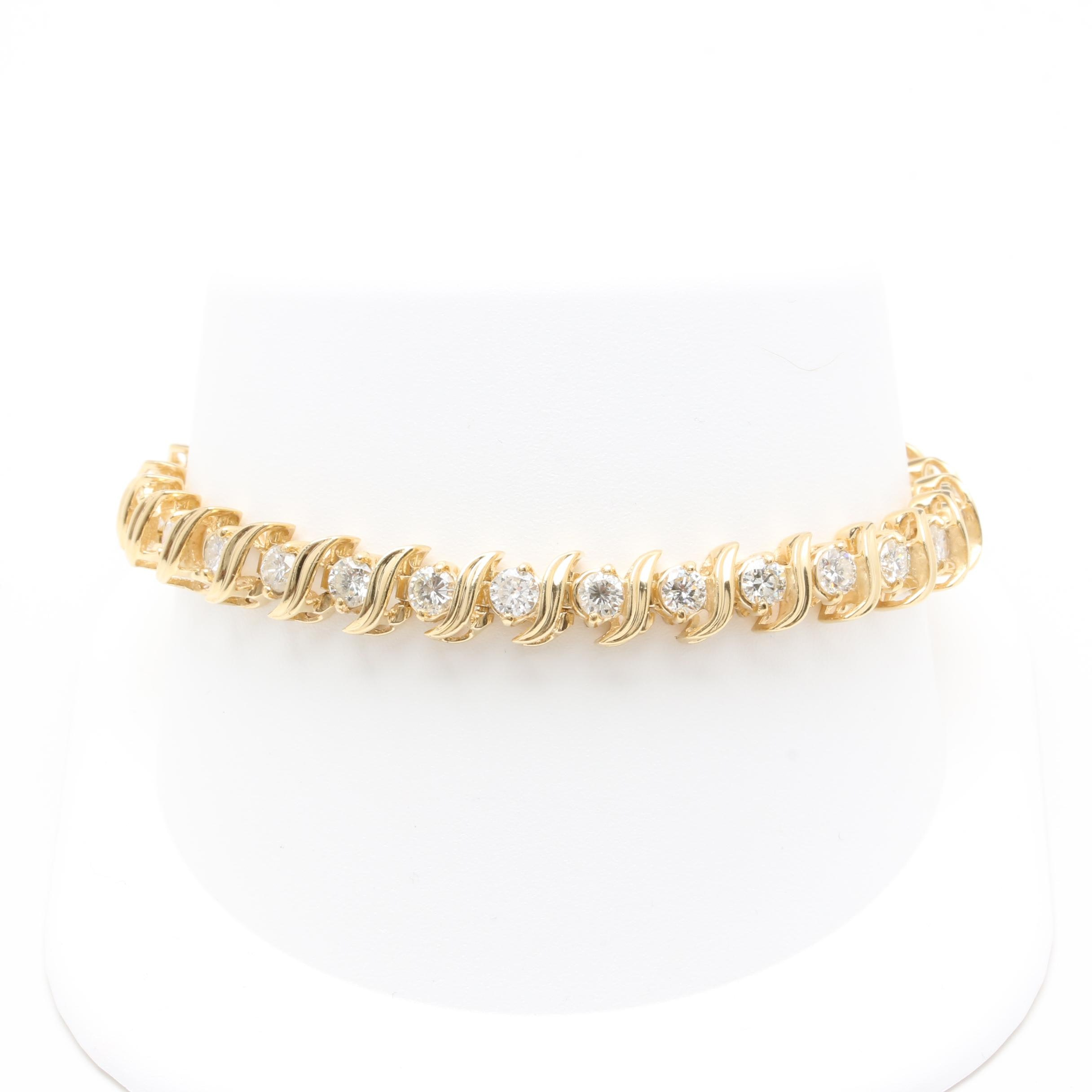 14K Yellow Gold 5.10 CTW Diamond Bracelet