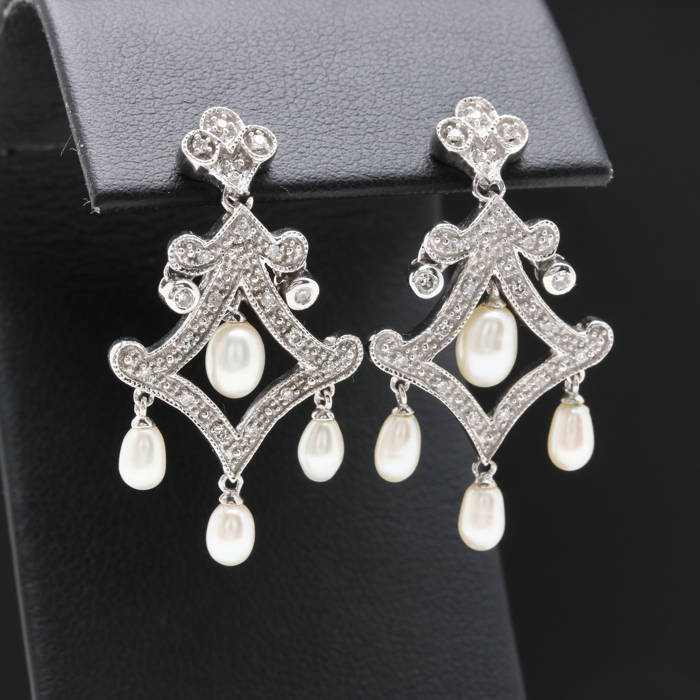 10K and 14K White Gold Cultured Pearl and Diamond Chandelier Earrings