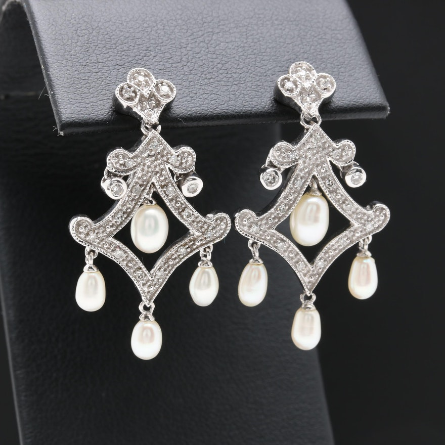 10k and 14k white gold cultured pearl and diamond chandelier 10k and 14k white gold cultured pearl and diamond chandelier earrings aloadofball Image collections