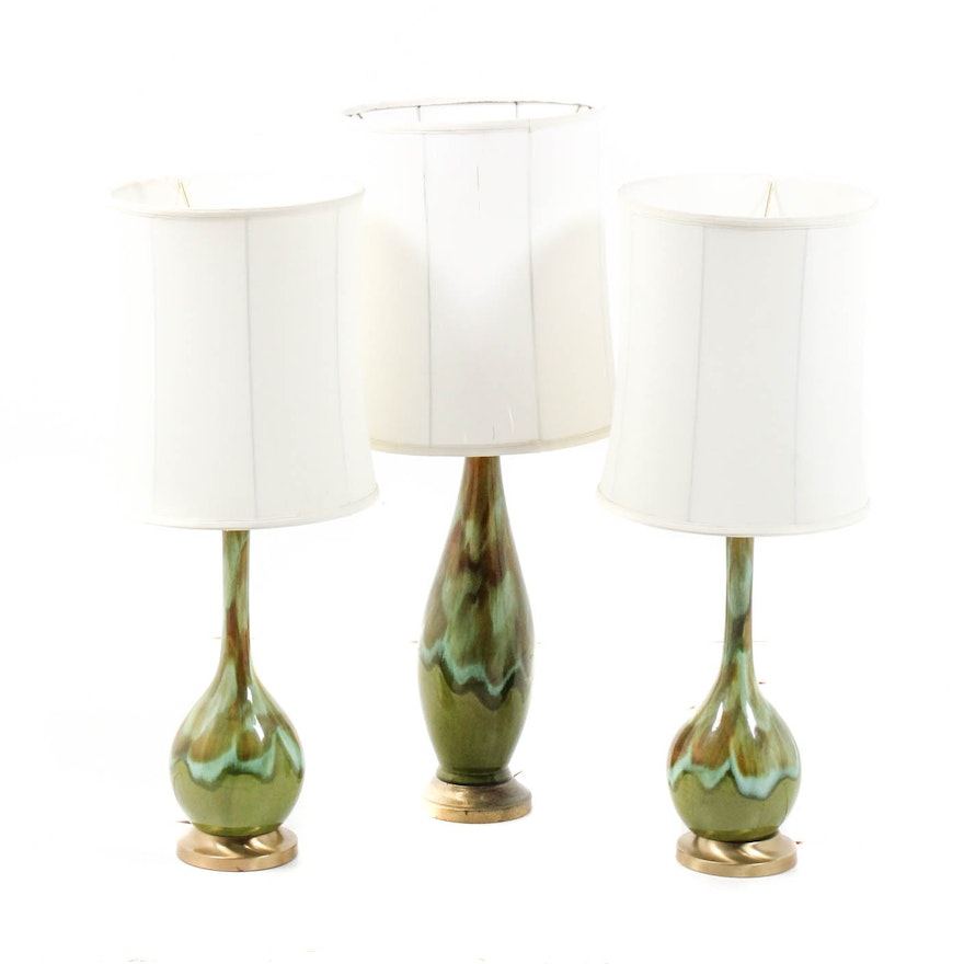 Mid century modern glazed art pottery table lamps ebth mid century modern glazed art pottery table lamps mozeypictures Choice Image