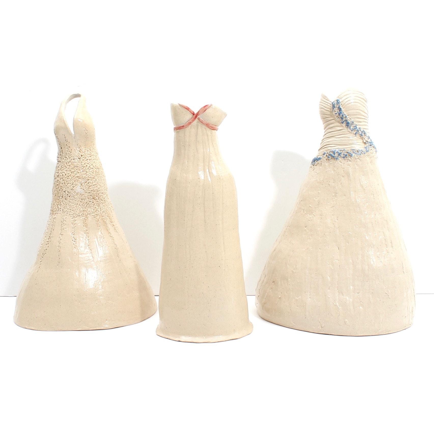 Susan Borthwick Handbuilt Art Pottery Vases Depicting Dresses