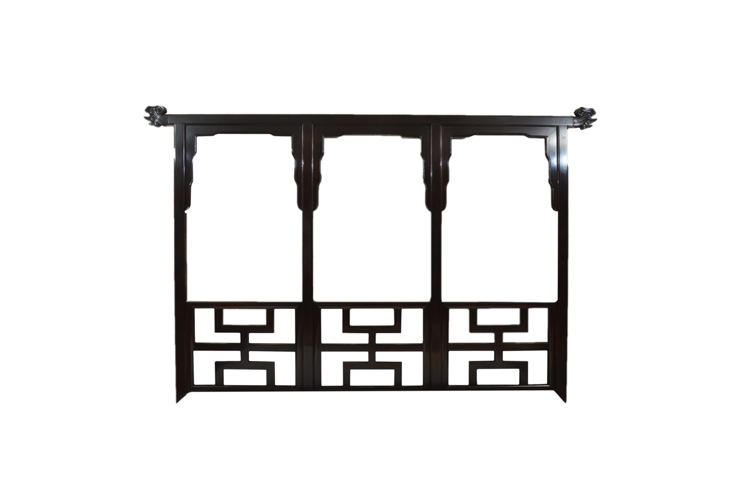 Black Lacquered Chinese Inspired Queen Size Headboard