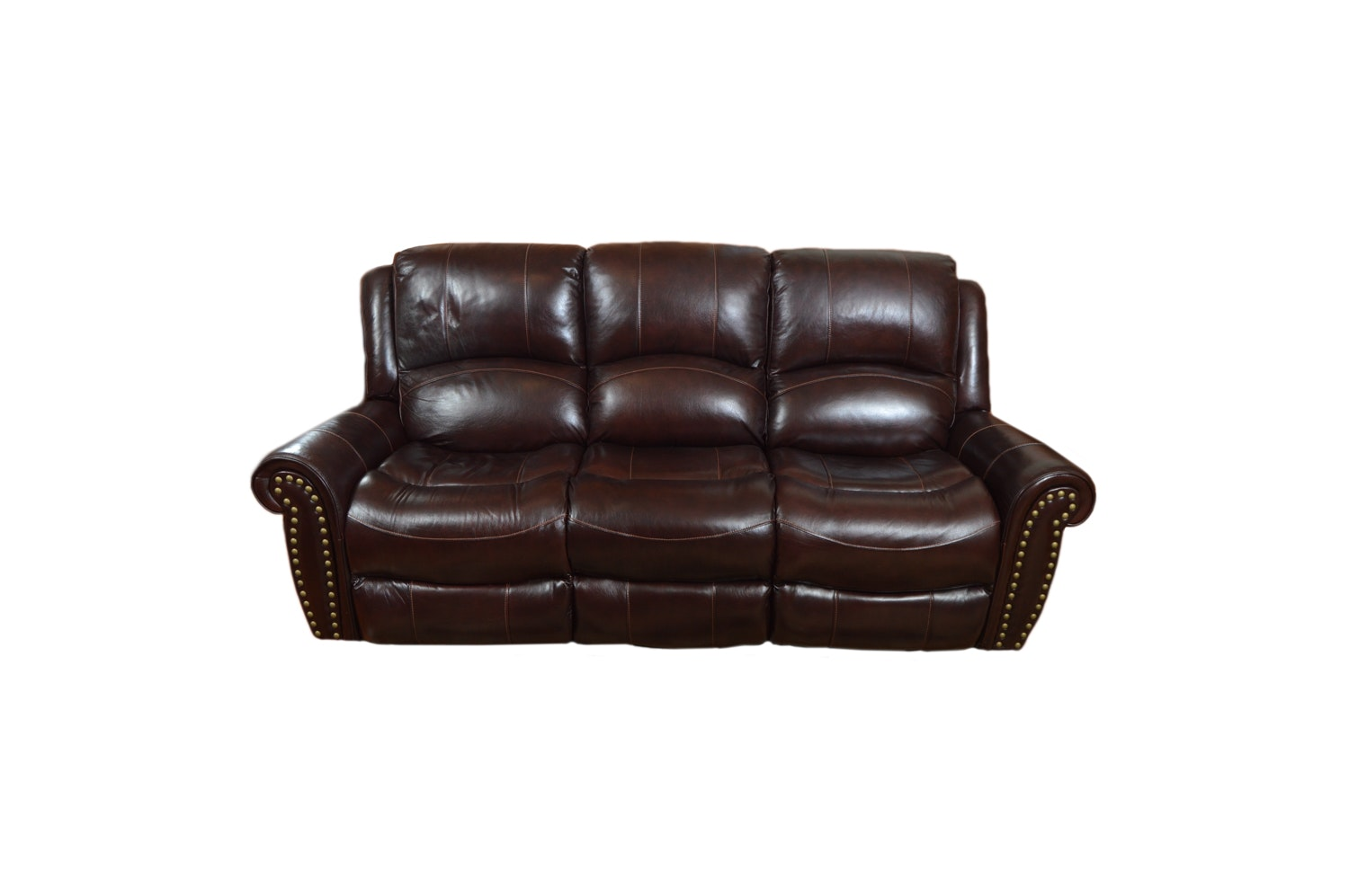 Dark Faux Leather Recliner Sofa