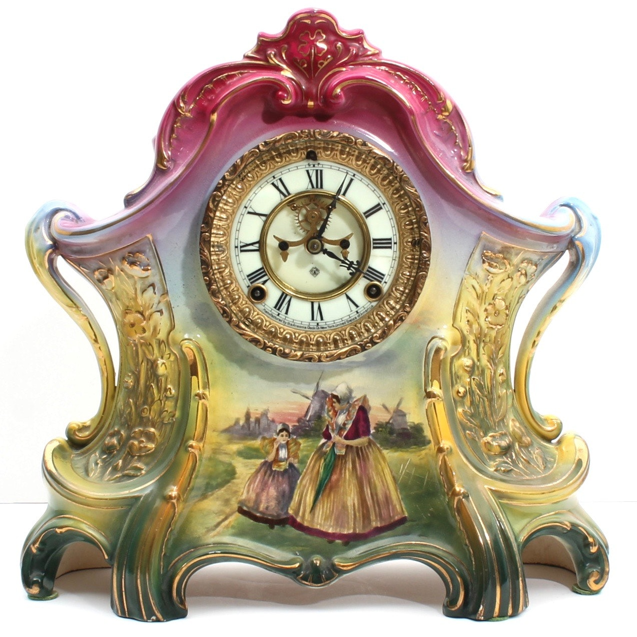 "Antique Ansonia ""La Layon"" Porcelain Mantle Clock"