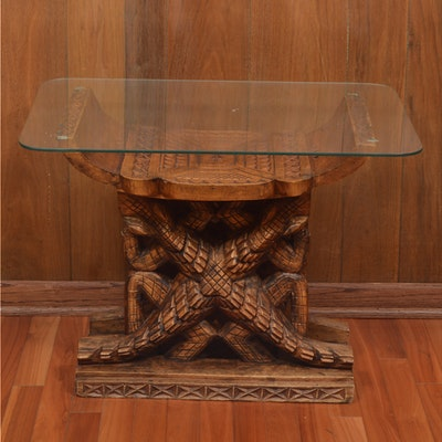 Carved Altar Style Glass Top Table - Online Furniture Auctions Vintage Furniture Auction Antique
