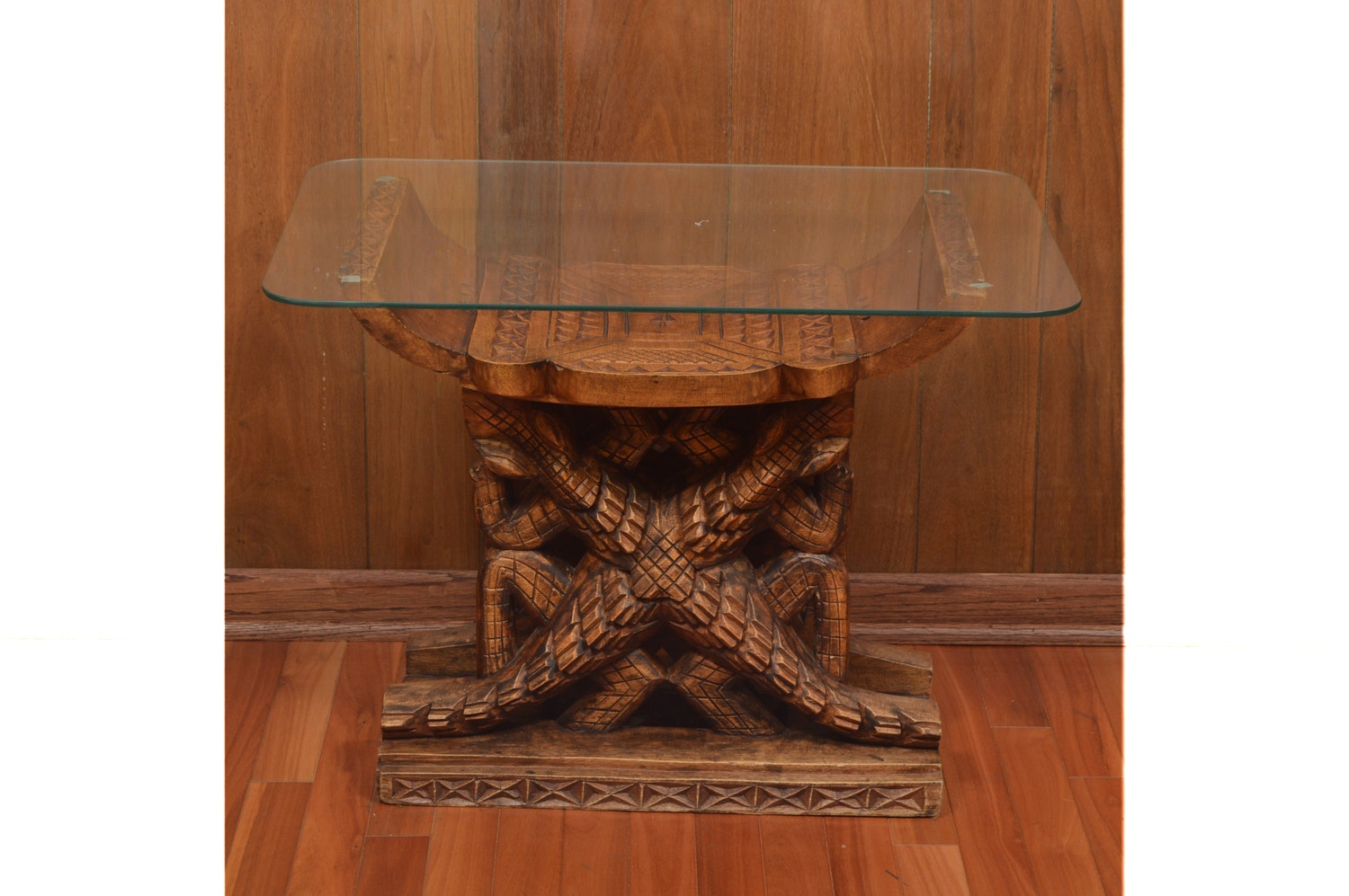 Carved Altar Style Glass Top Table