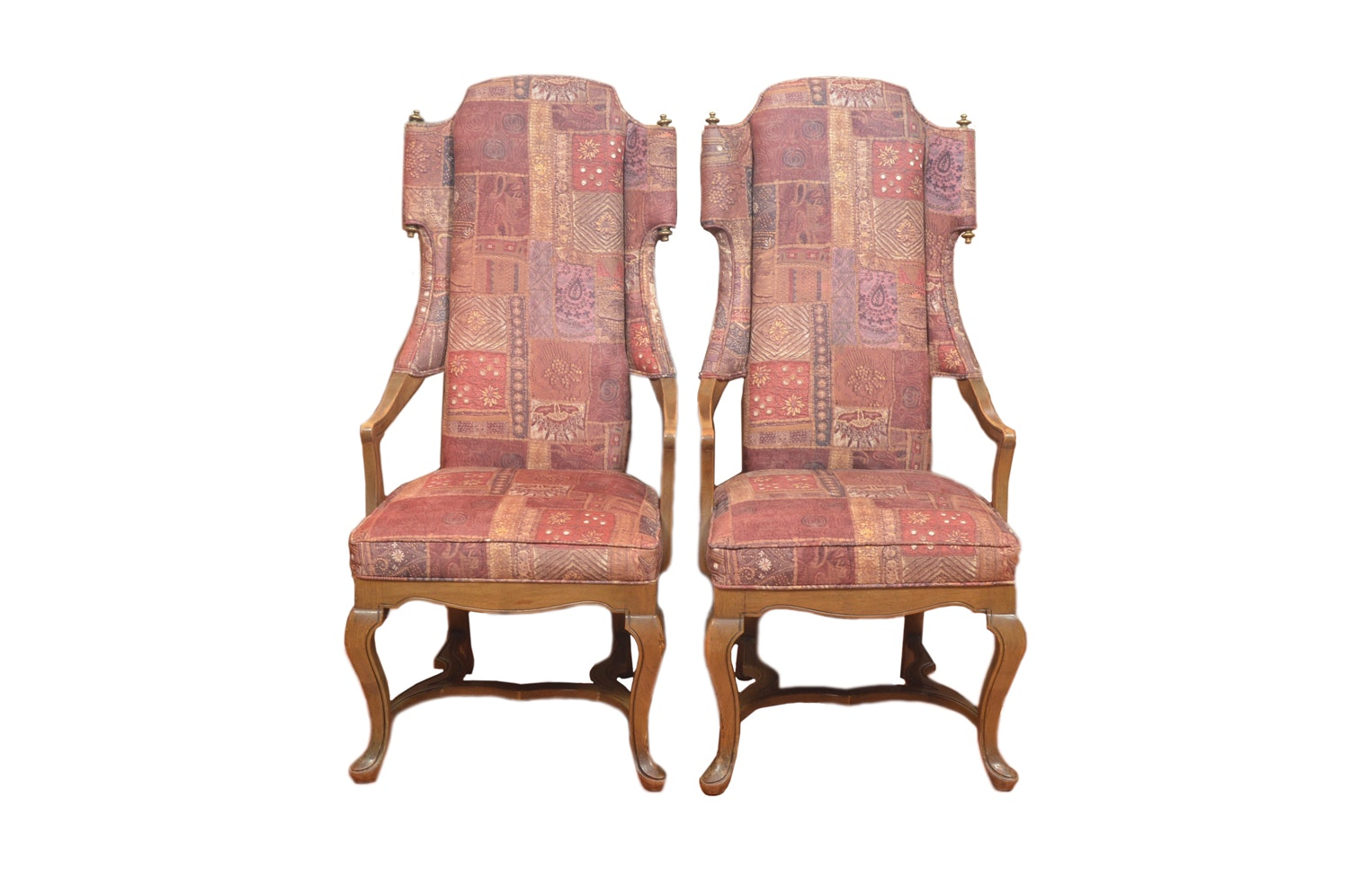 Angular Wingback Pair of Chairs