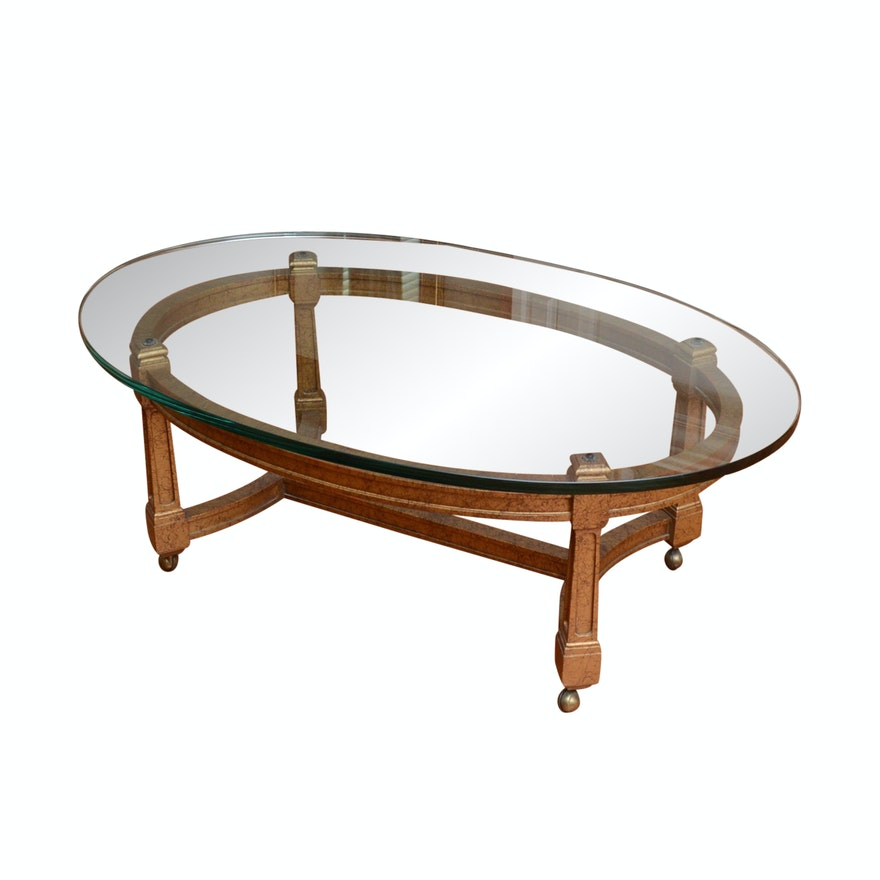 Oval Glass Top Coffee Table With Painted Base Ebth