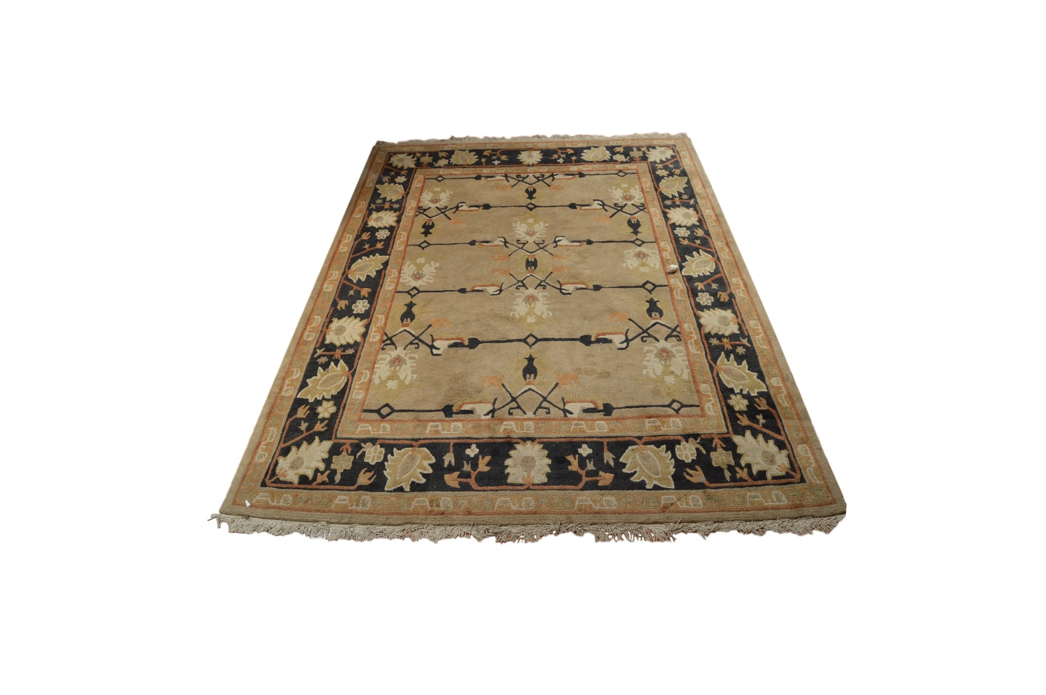 Vintage Hand-Knotted Nepalese Carved Wool Area Rug