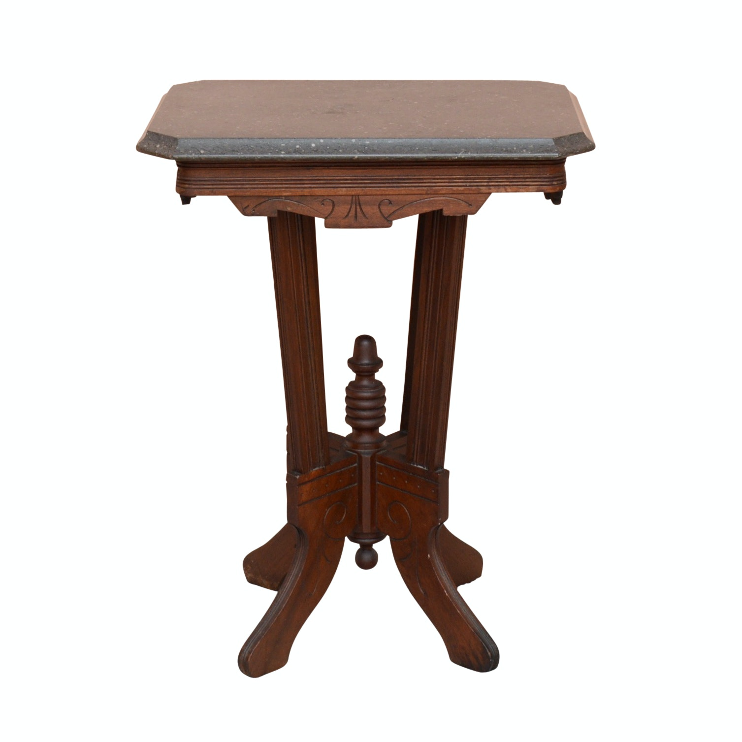 Eastlake Style Side Table With Granite Top