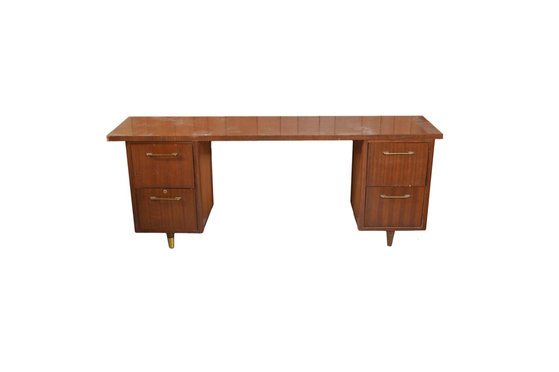 Mid Century Modern Double Pedestal Teak Desk