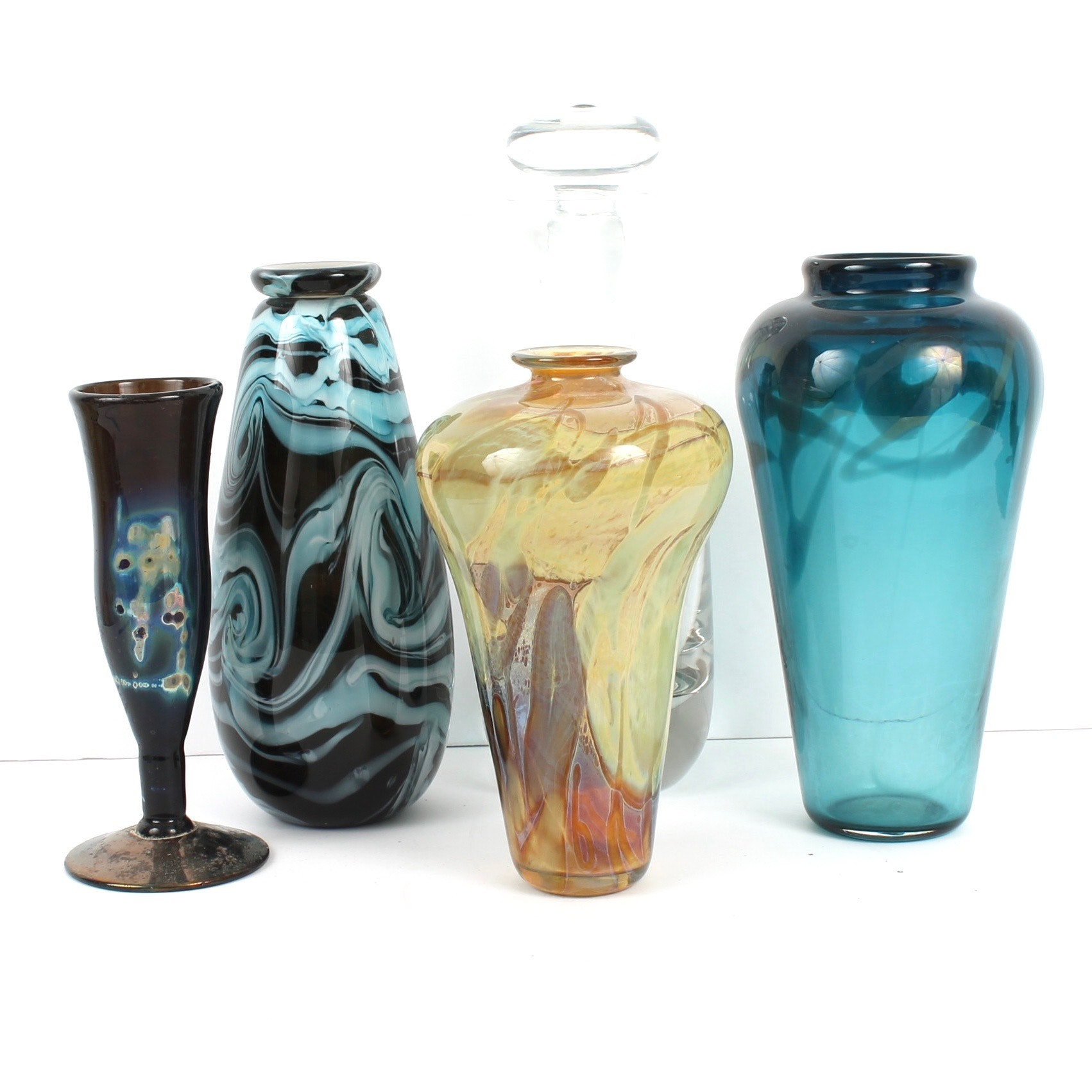 Art Glass Vases and Krosno Decanter