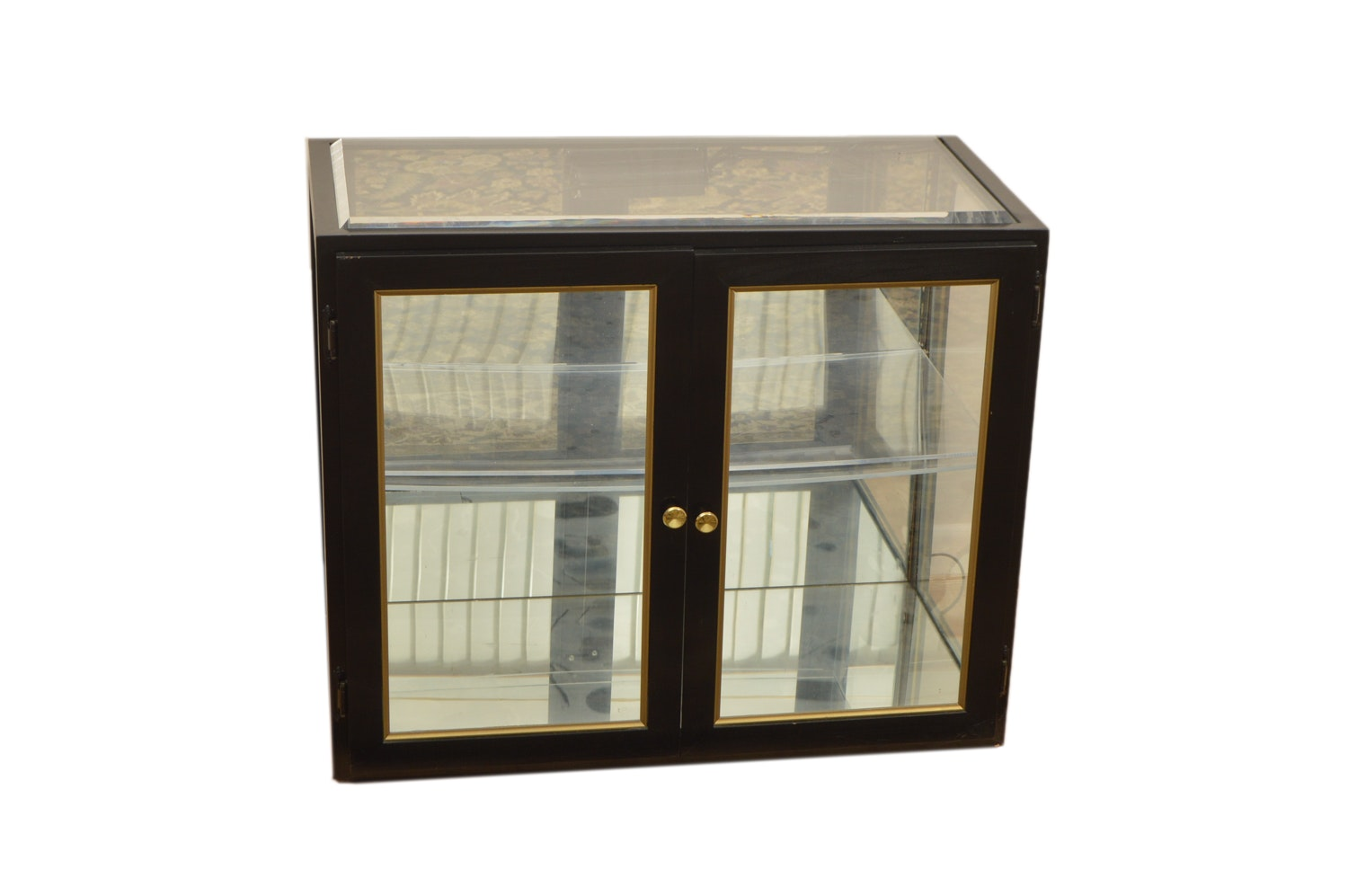 Beveled Glass Vitrine Cabinet with Mirrored Base