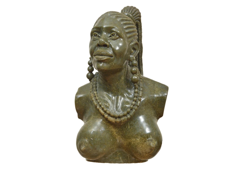 Sailas Makumba Carved Shona Female Bust