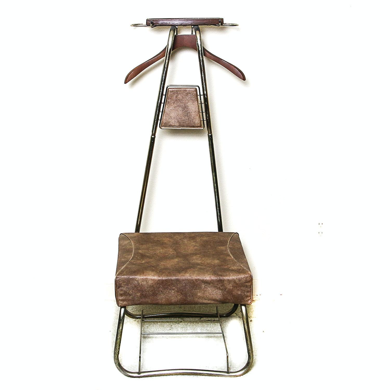Mid Century Modern Metal and Vinyl Valet Chair