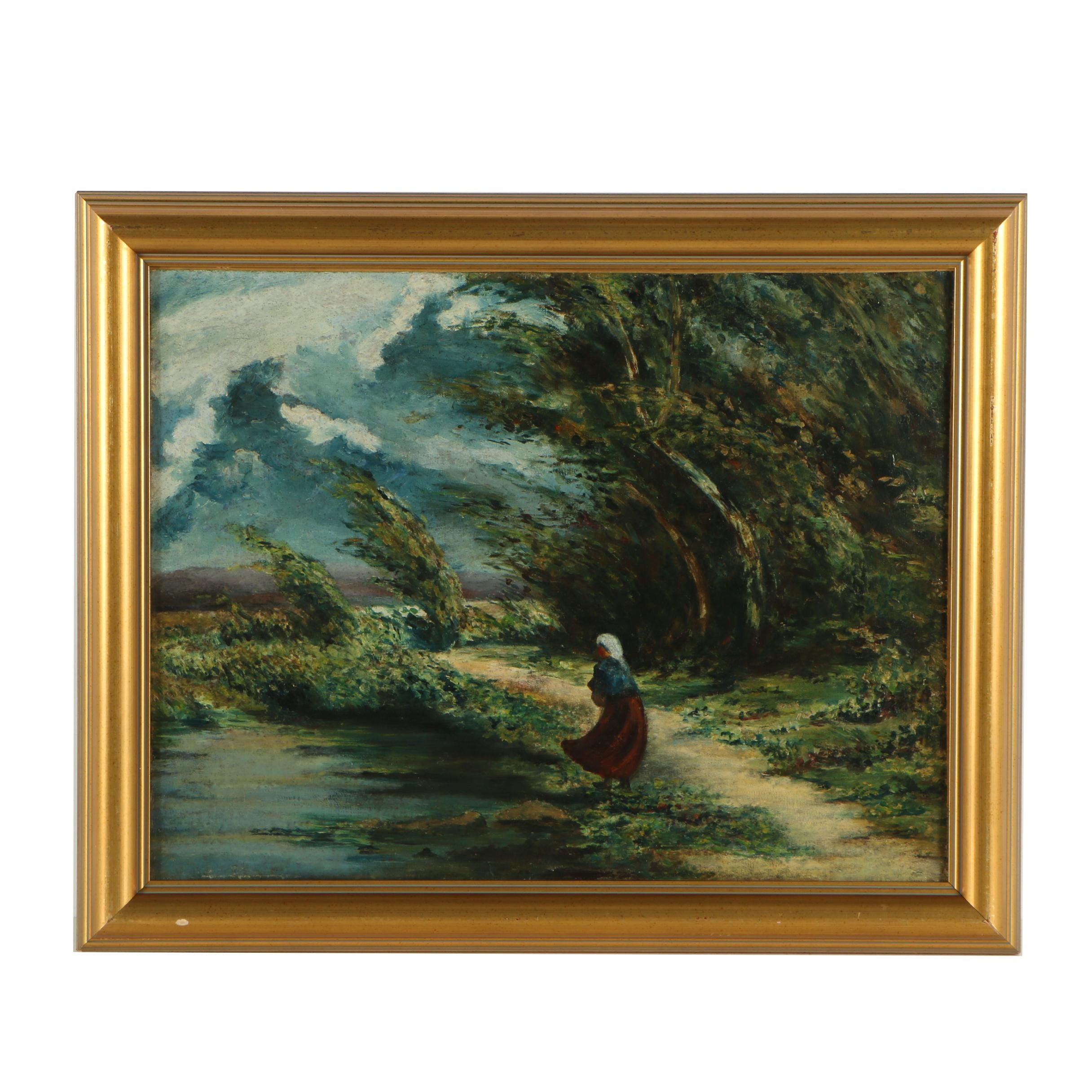 Oil Painting of Figure in Stormy Landscape