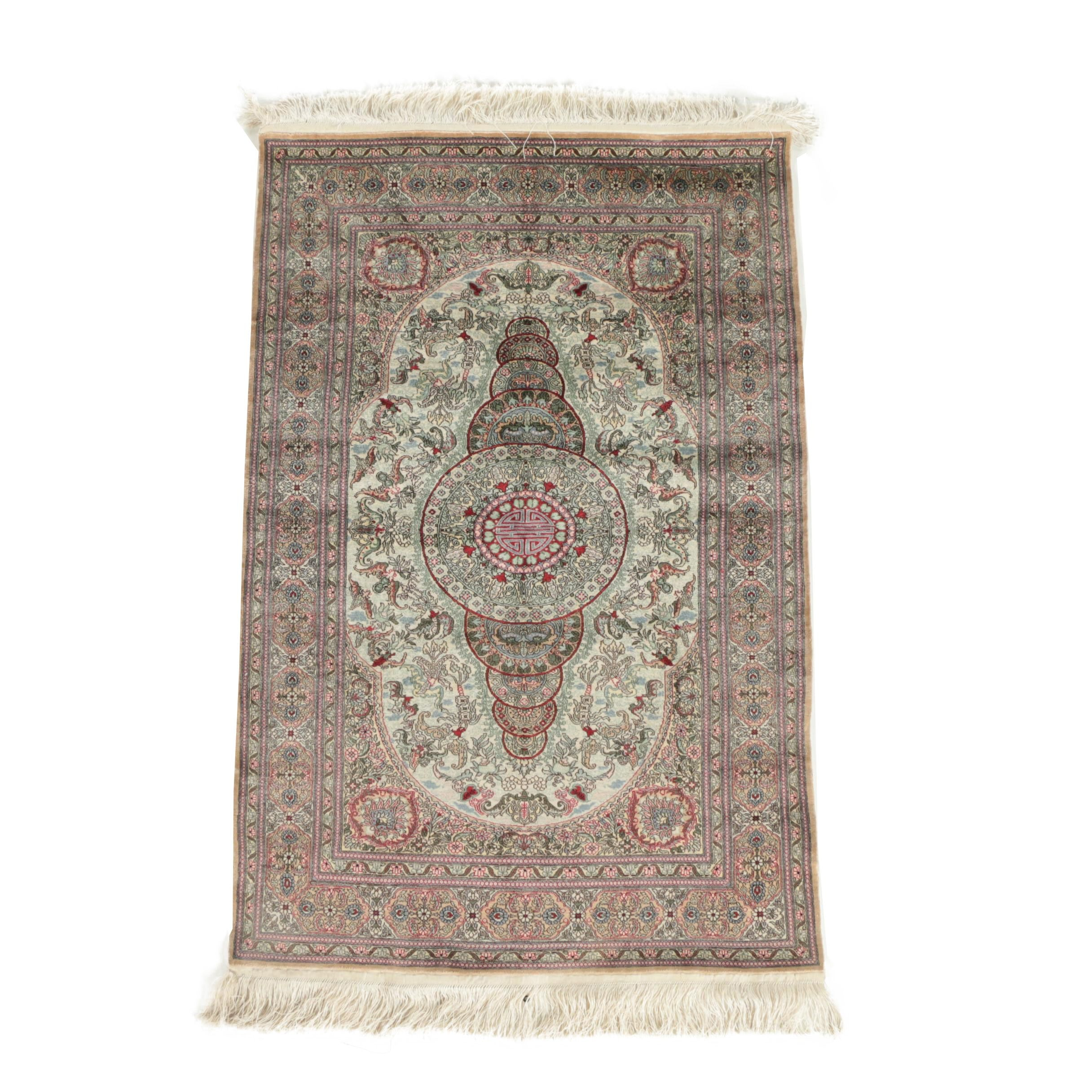 Hand-Knotted Chinese Silk Accent Rug