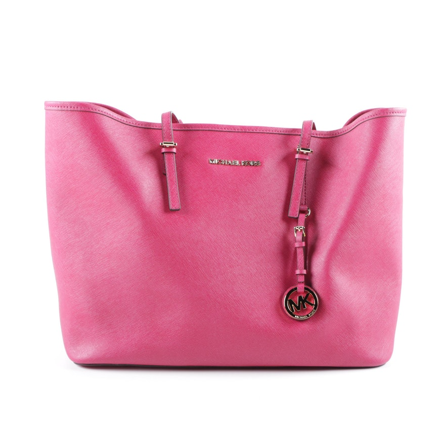 4fbf0d3782ea Michael Kors Hot Pink Saffiano Leather Carryall Tote : EBTH