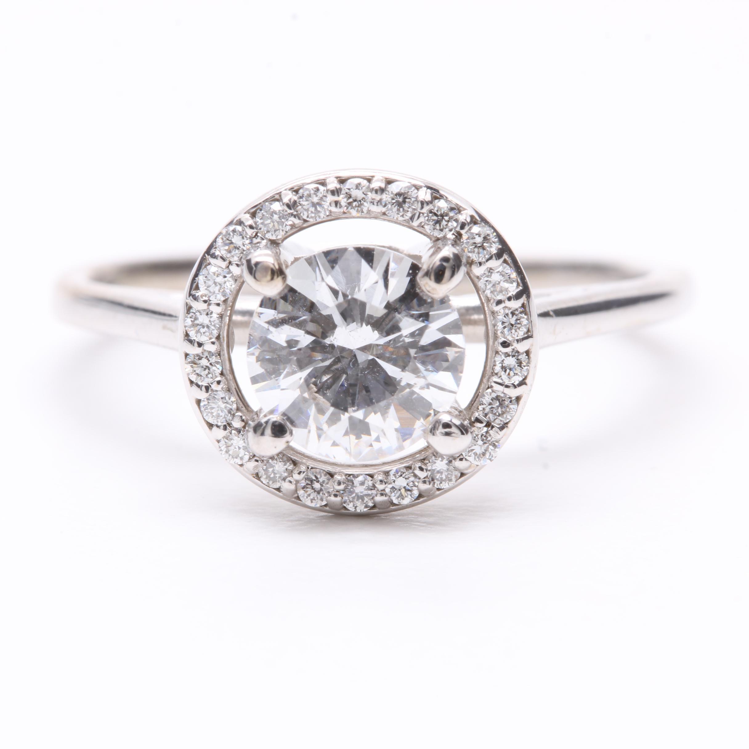 14K White Gold 0.96 CTW Diamond Ring