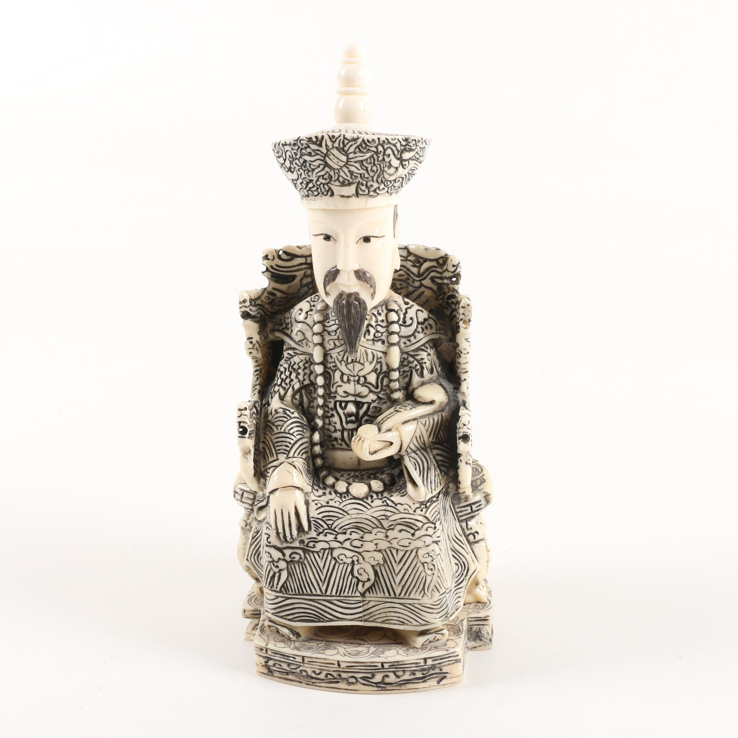 Chinese Seated Official Carved Bone Figurine