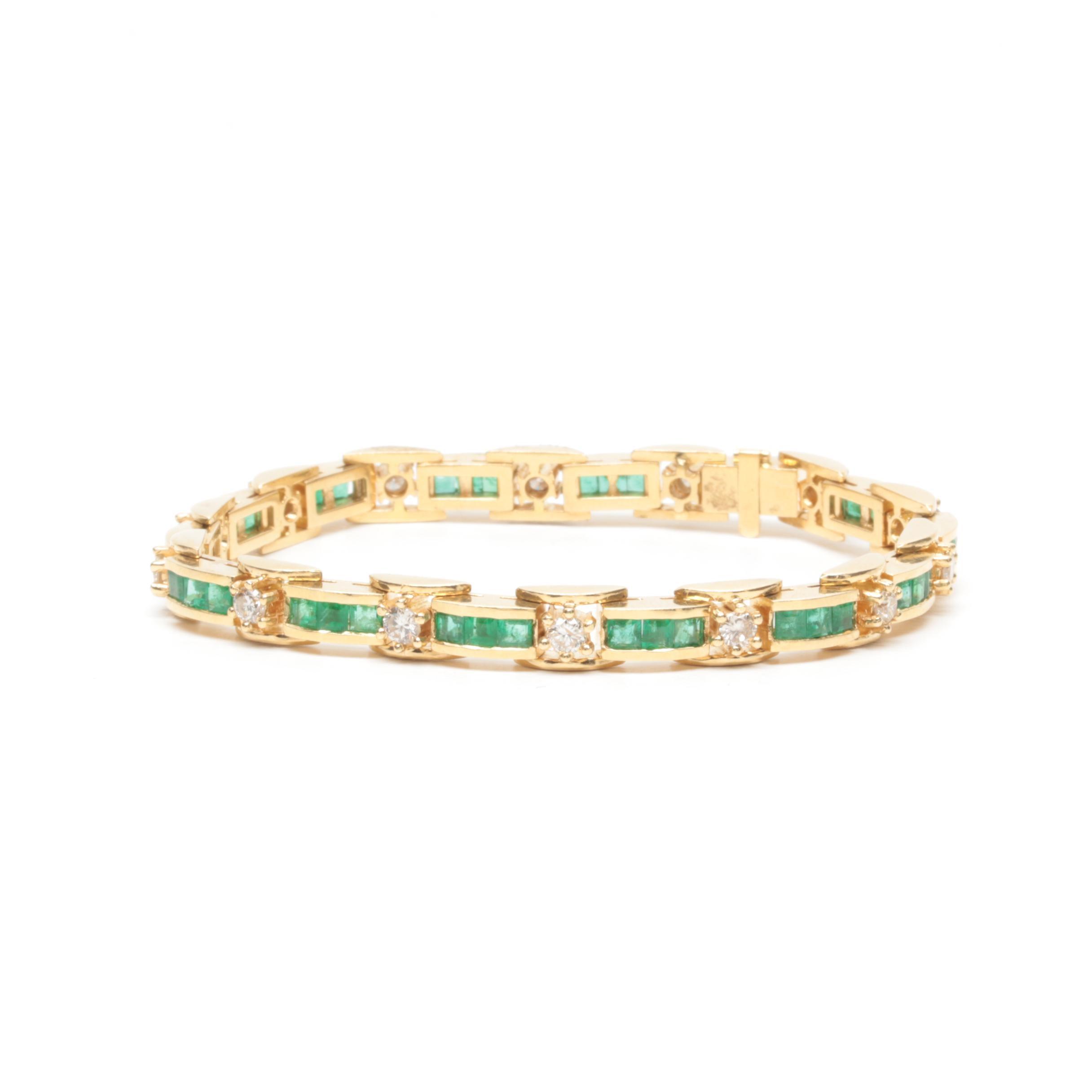 18K Yellow Gold Emerald and 1.40 CTW Diamond Tennis Bracelet