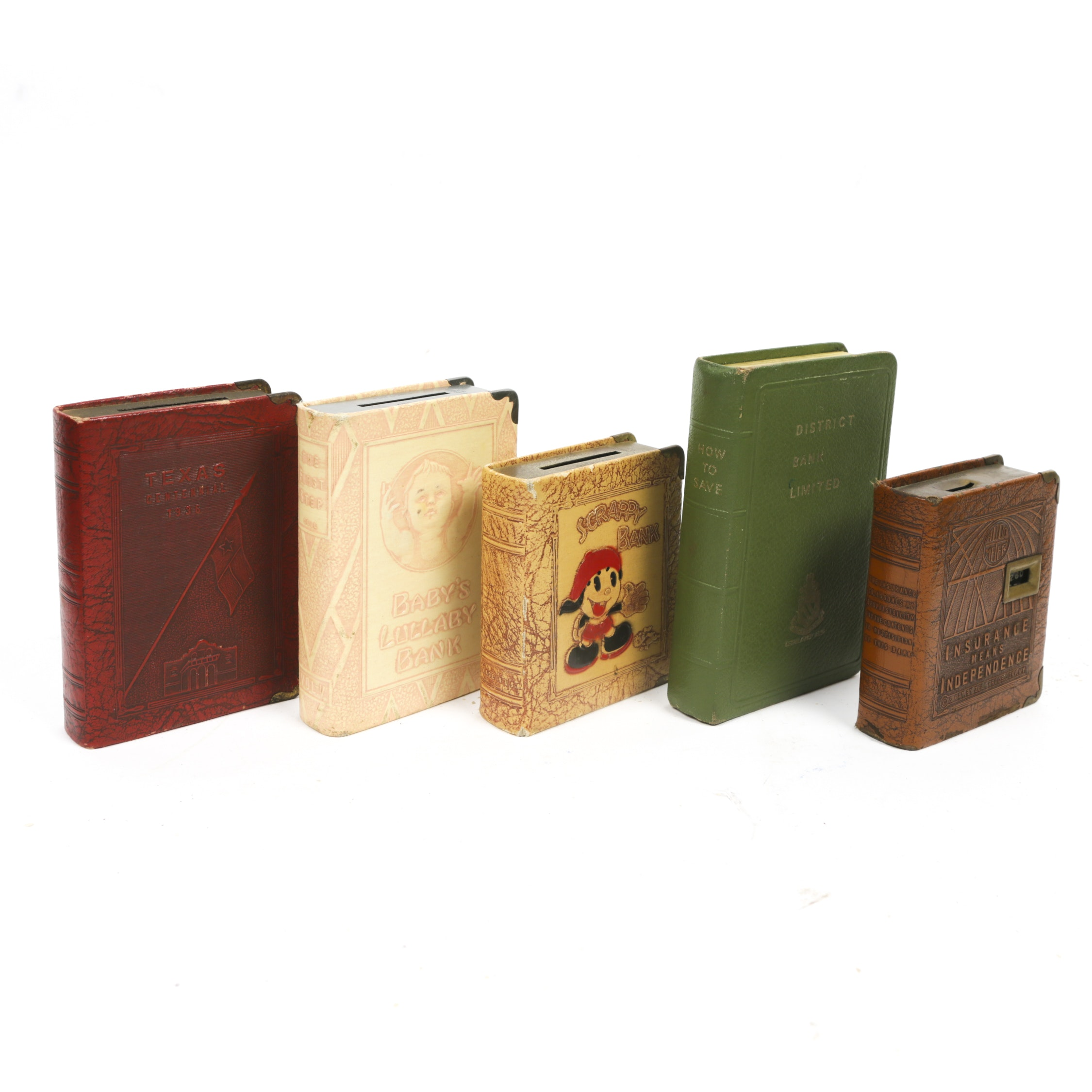 "Vintage Book Shaped Coin Banks, Including 1930s ""Scrappy Bank"""