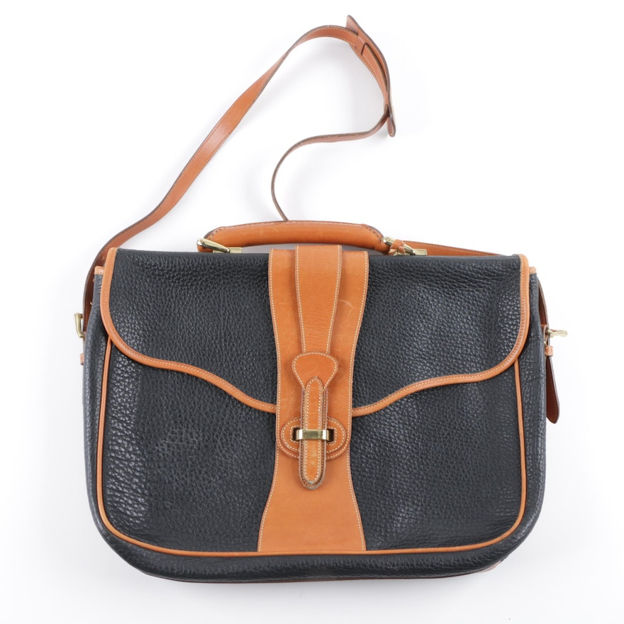 6bc64c01180 Dooney   Bourke Brown and Black Leather Satchel   EBTH