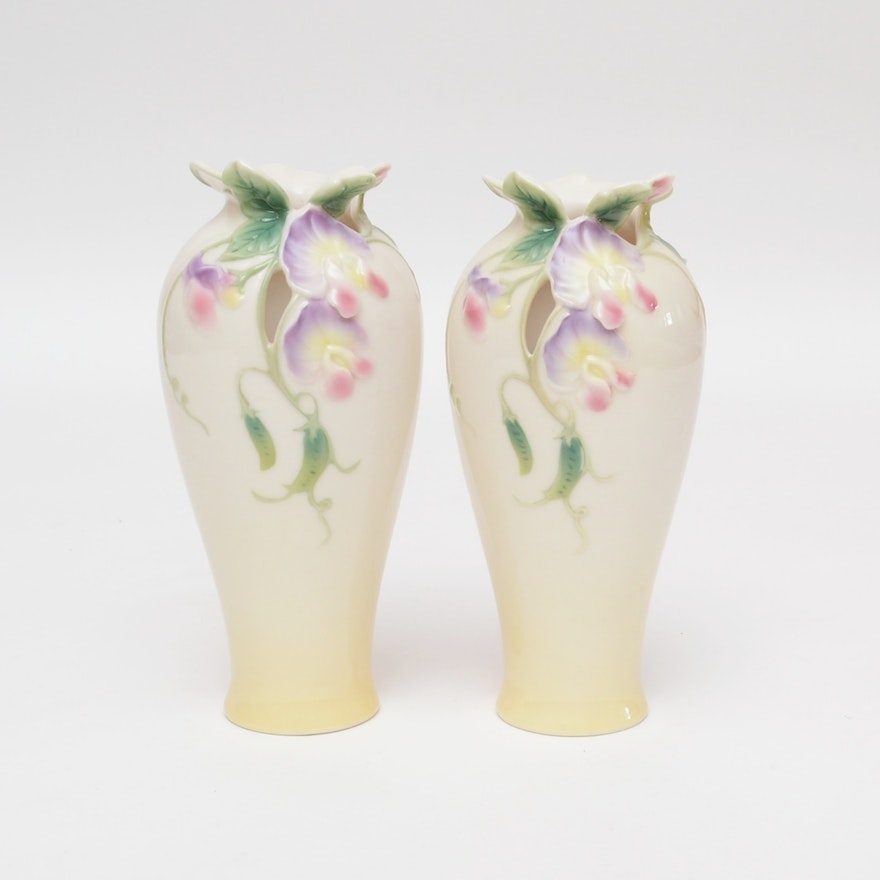 Franz Porcelain Sculpted Vase Set After May Wei Xuet Mei Ebth