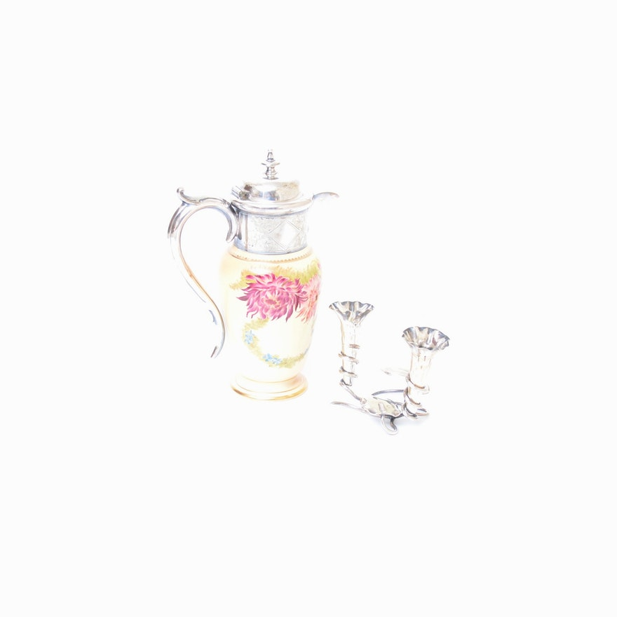 English Silver Plated Tea Pot And Flower Vase Set Ebth