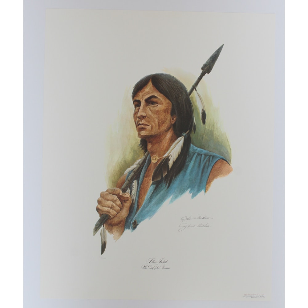 """John Ruthven Signed Limited Edition Offset Lithograph """"Blue Jacket"""""""