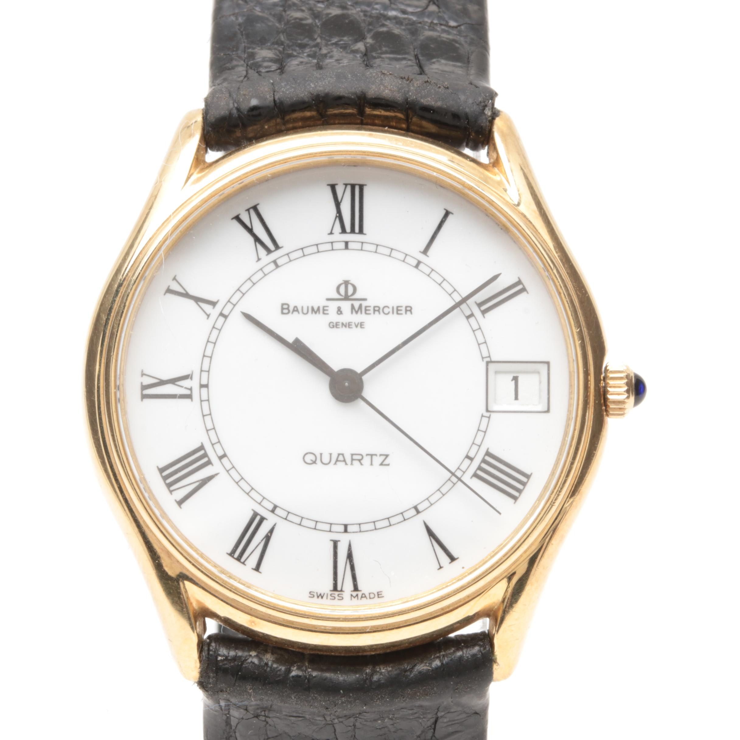 Baume & Mercier 14K Yellow Gold and Leather Wristwatch