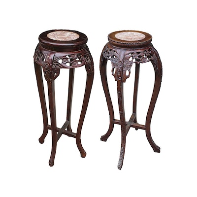 Vintage Chinese Carved Wood Plant Stands - Online Furniture Auctions Vintage Furniture Auction Antique