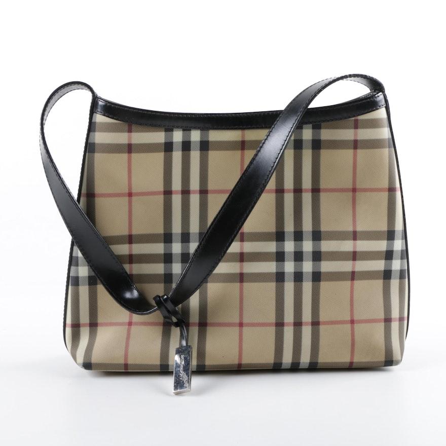 Burberry London Haymarket Check Coated Canvas Shoulder Bag 07f5f93f8dcf5
