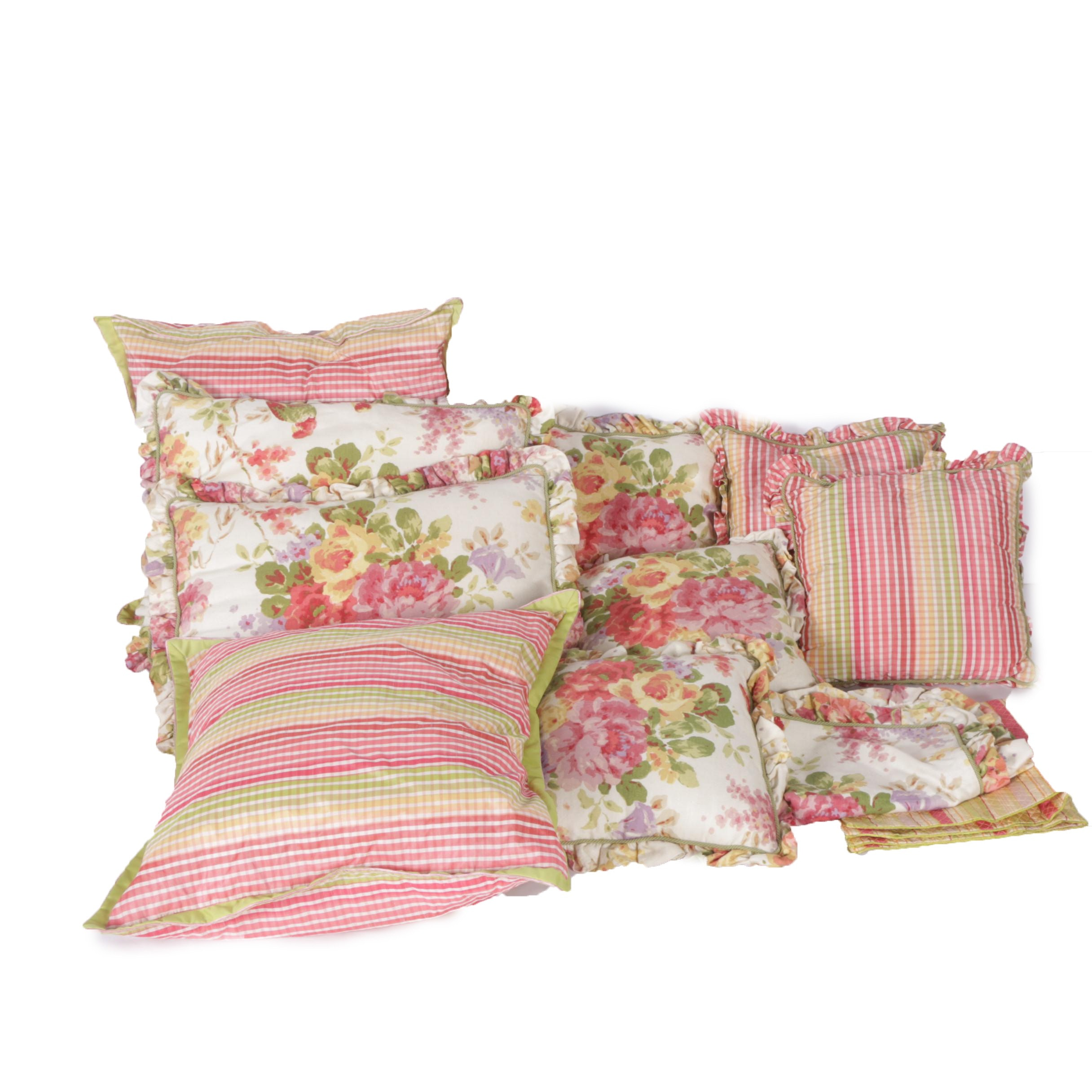 Collection Of Floral And Striped Throw Pillows And Covers ...