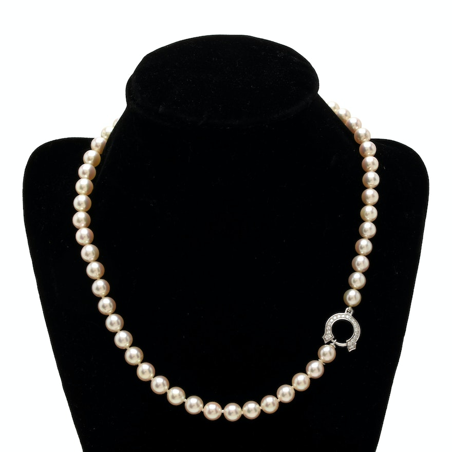 fee72fb004251 Cartier Single Strand Cultured Pearl Necklace with 18K White Gold Diamond  Clasp