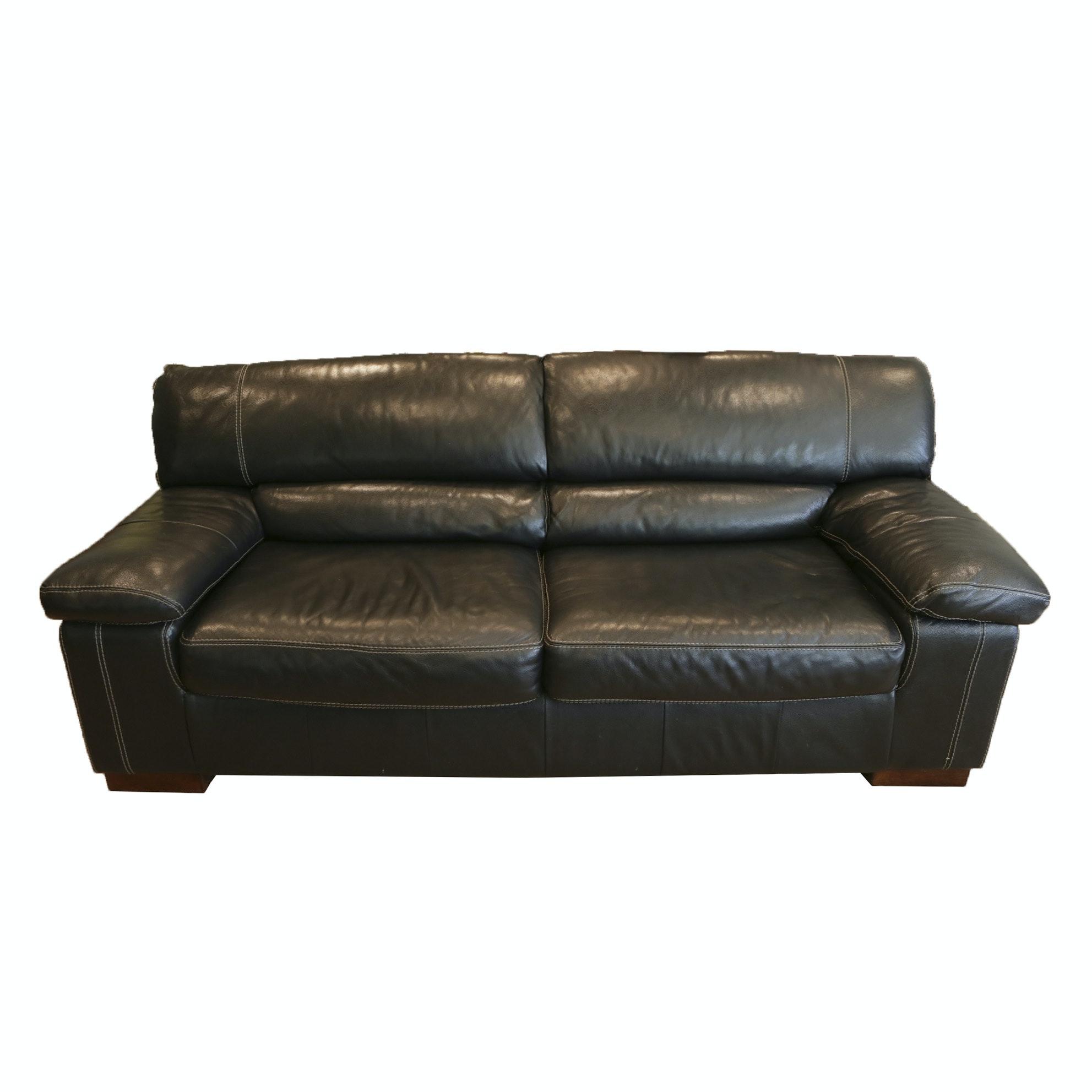 Leather Two Cushion Sofa