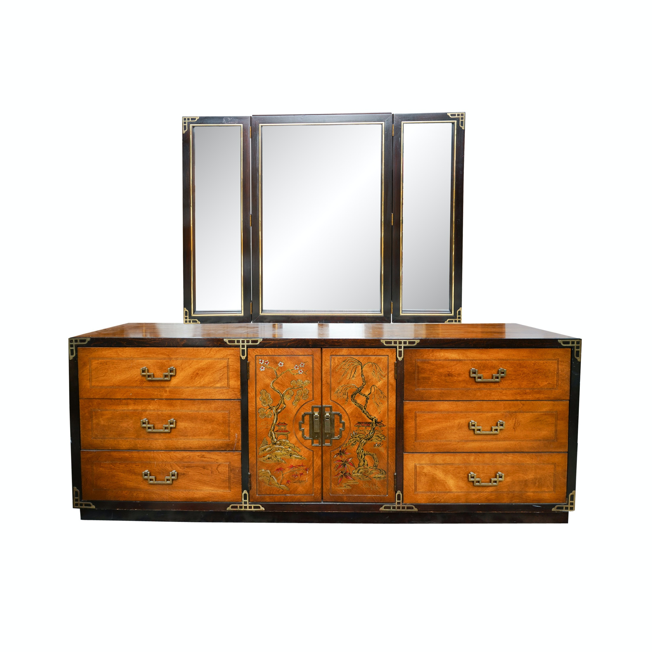 Asian Style Chinoiserie Dresser with Mirror