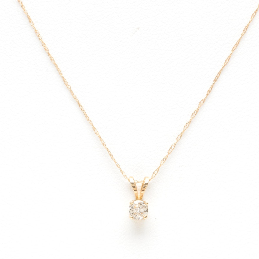 14k yellow gold diamond pendant necklace ebth 14k yellow gold diamond pendant necklace aloadofball Images