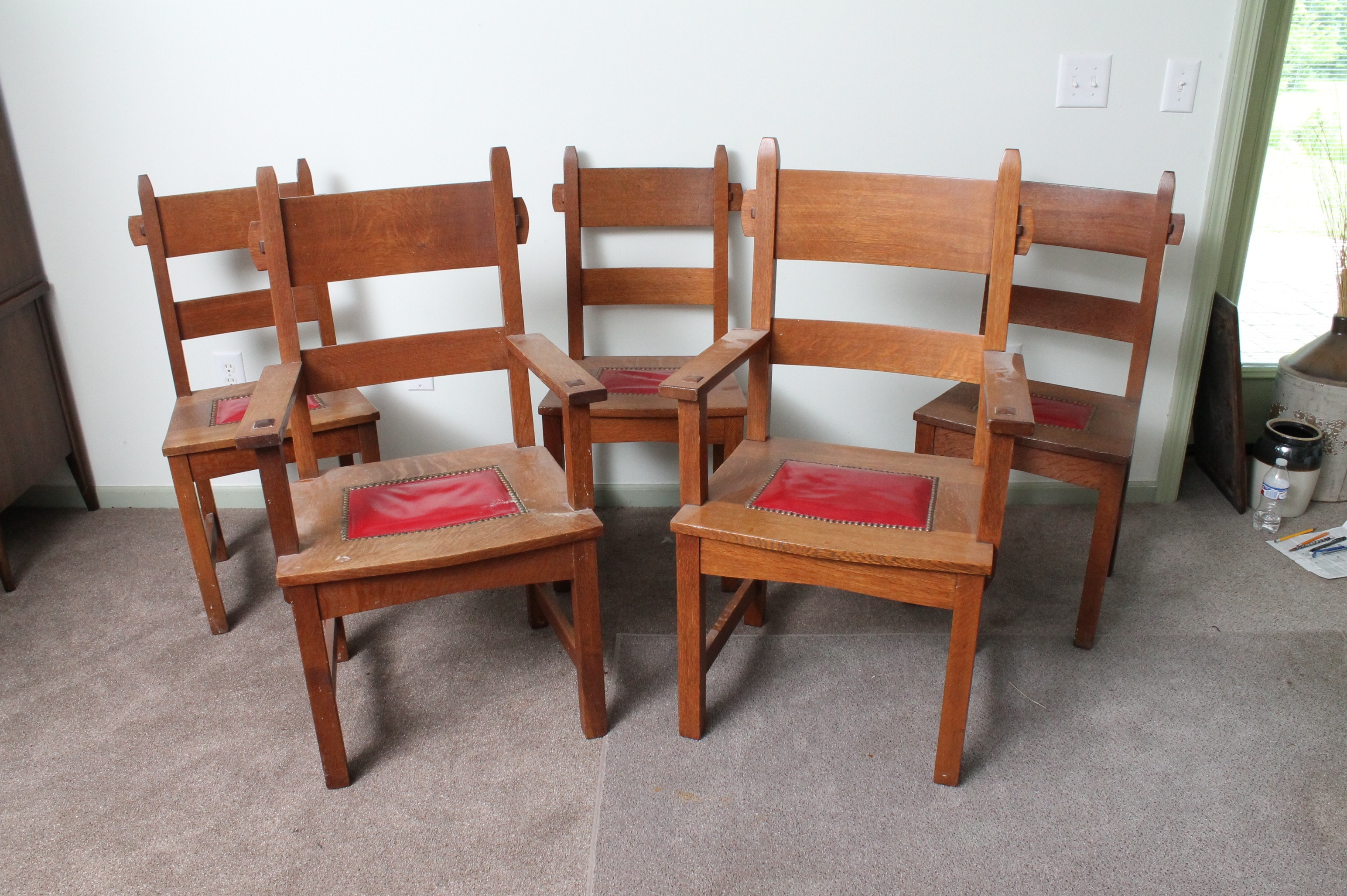 Vintage Craftsman Style Oak Dining Chairs