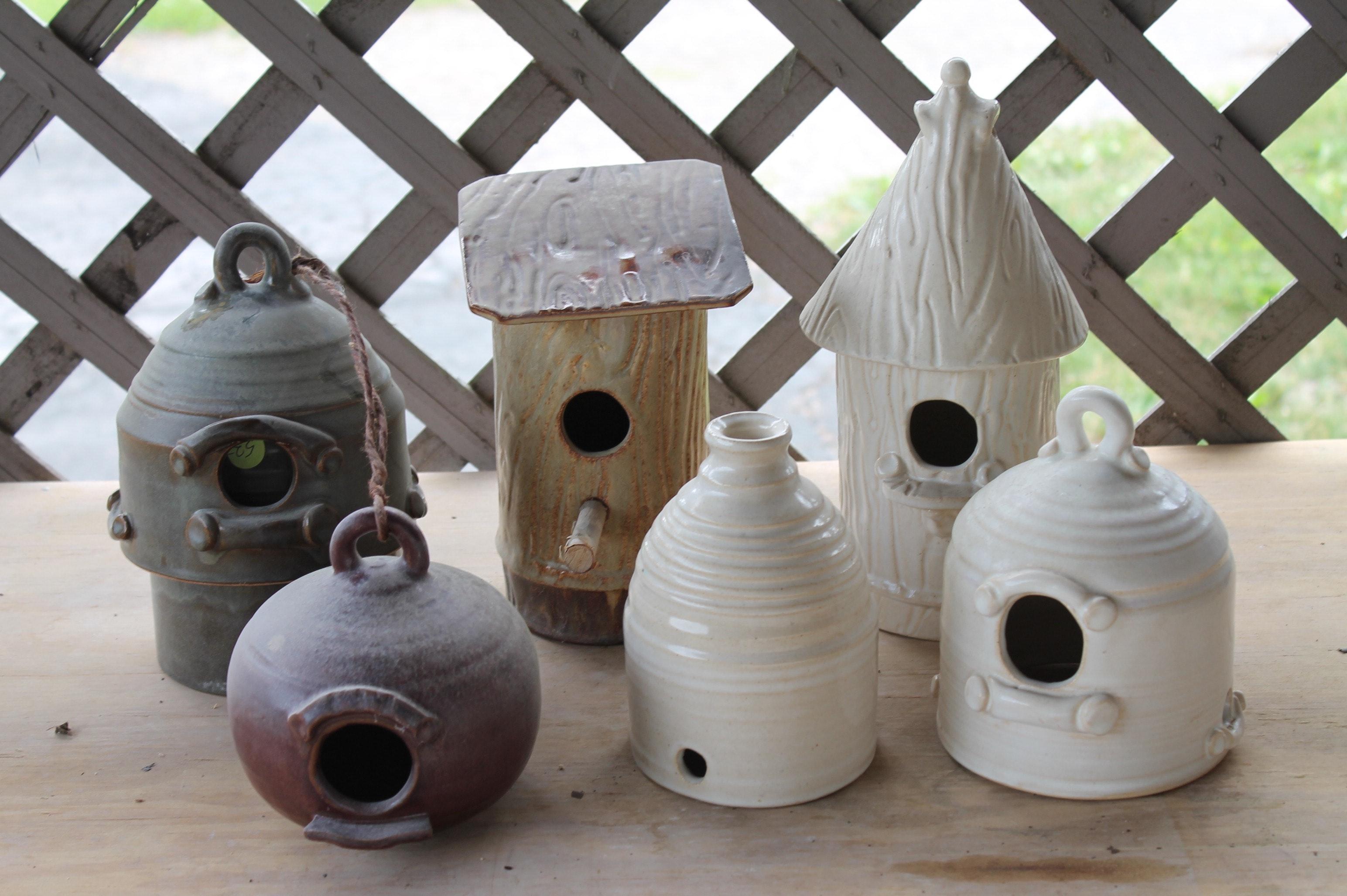 Fred Borthwick Hand Thrown Pottery Birdhouses