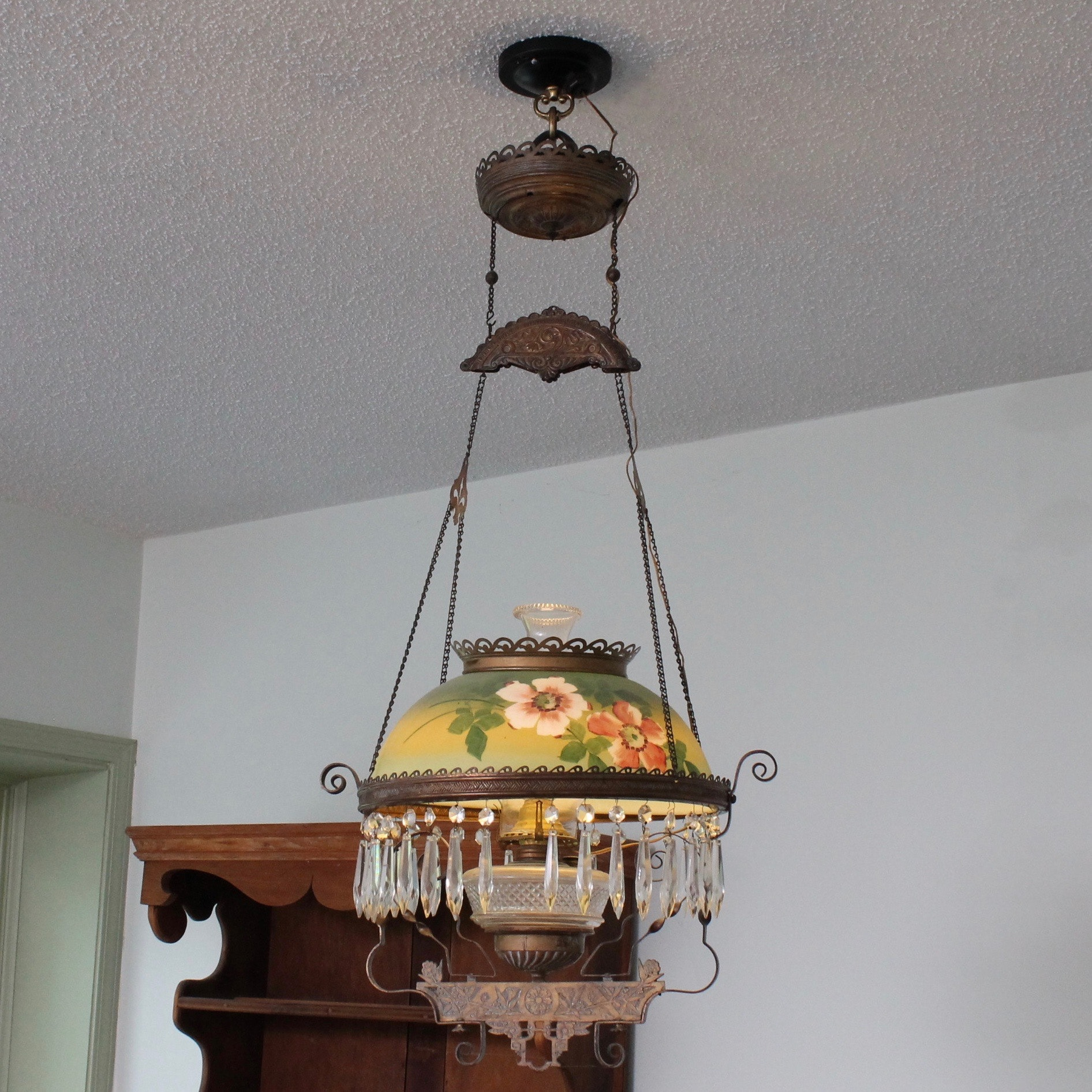 Converted Victorian Hanging Parlor Light