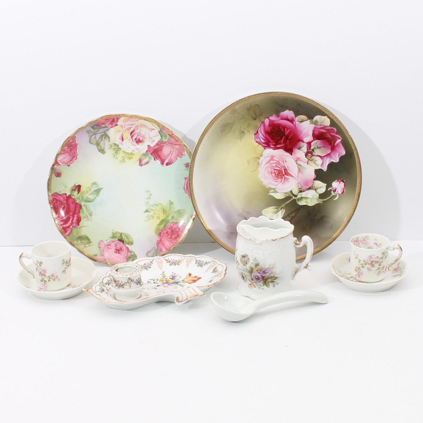 Ceramic Decor with Floral Designs including Haviland and Nippon