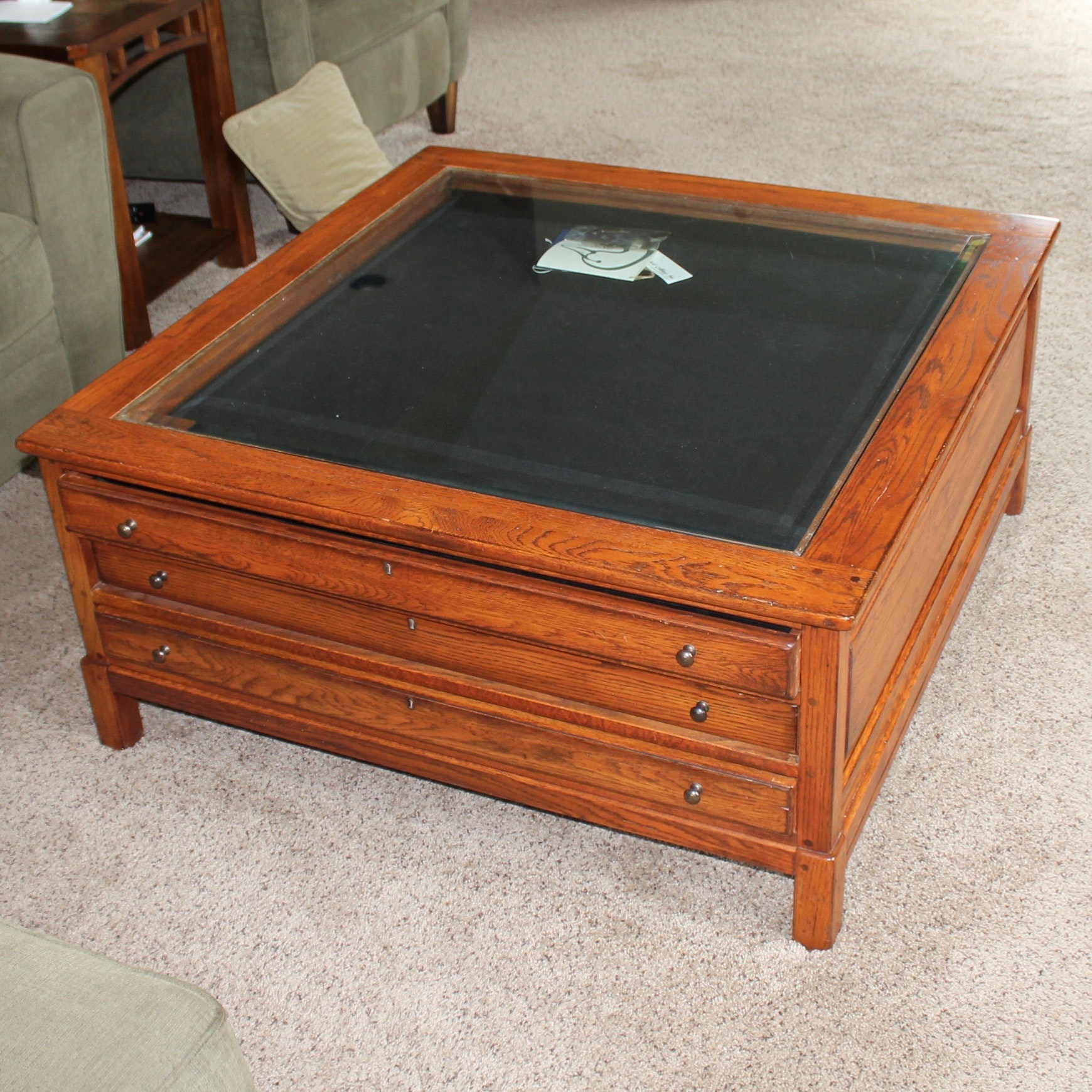 Contemporary Glass Top Display Coffee Table