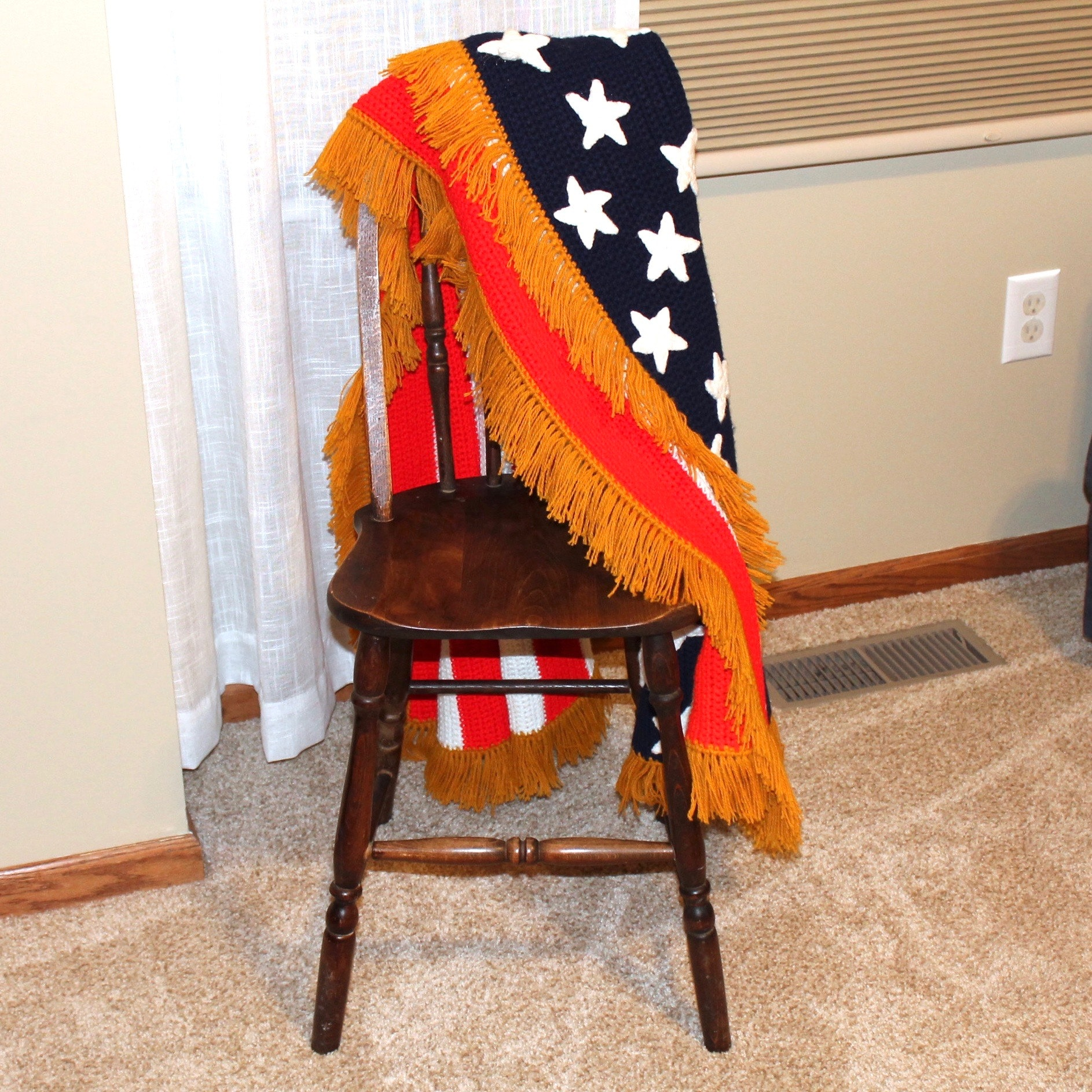 Vintage Plank Chair with US Flag Afghan