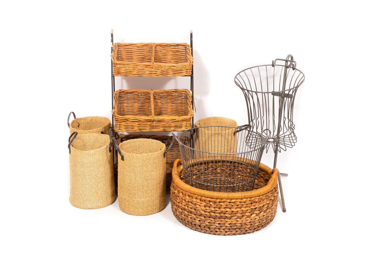 Basket Variety Including Wire Baskets and Shelf